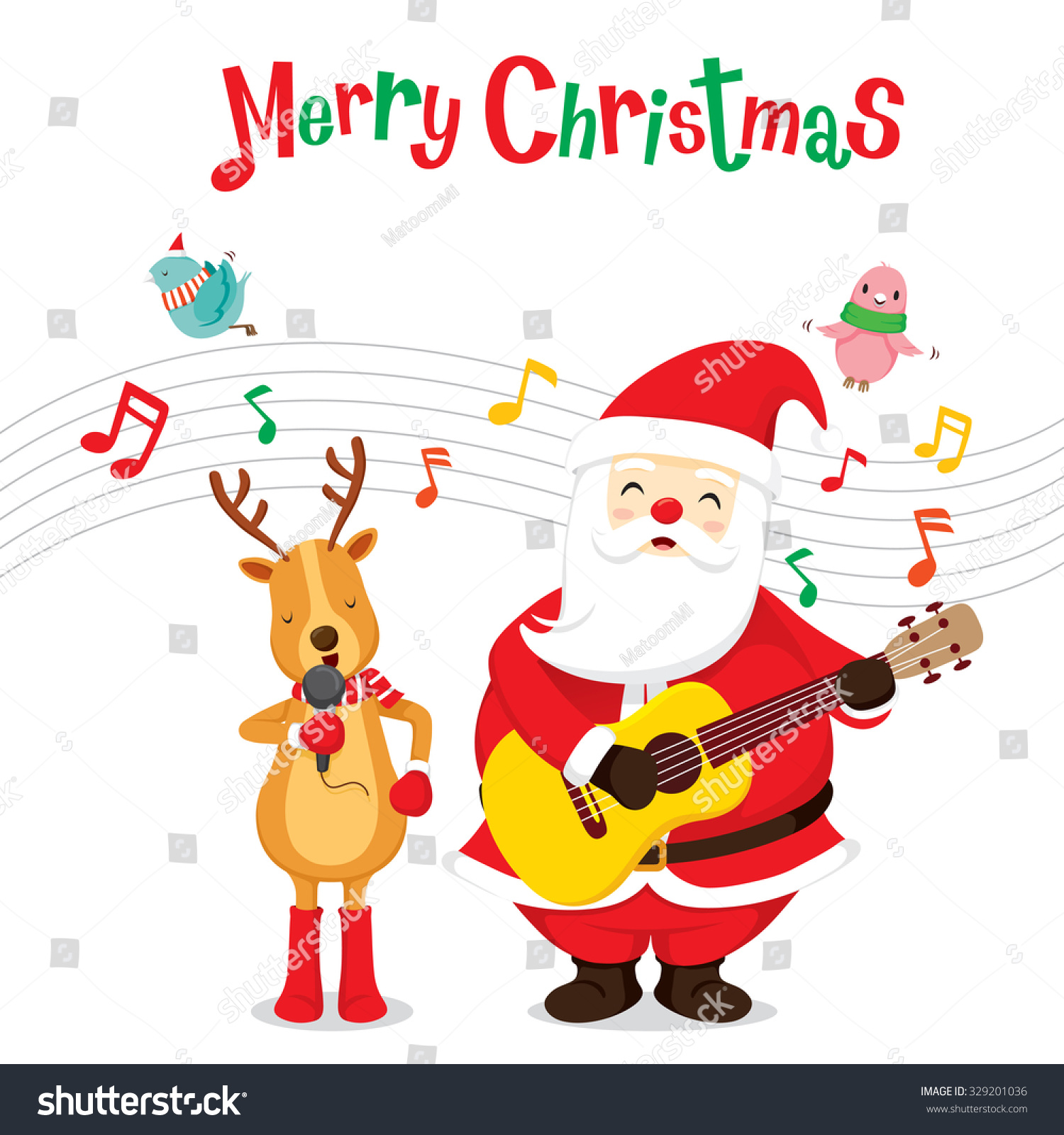 reindeer and santa claus singing and playing guitar merry christmas xmas happy new