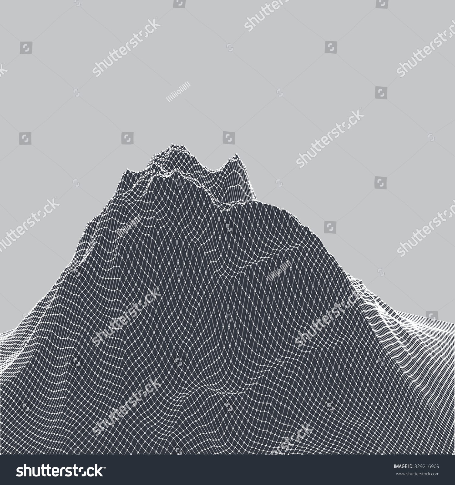 Vector 3d Digital Landscape Black White Stock Vector Royalty Free