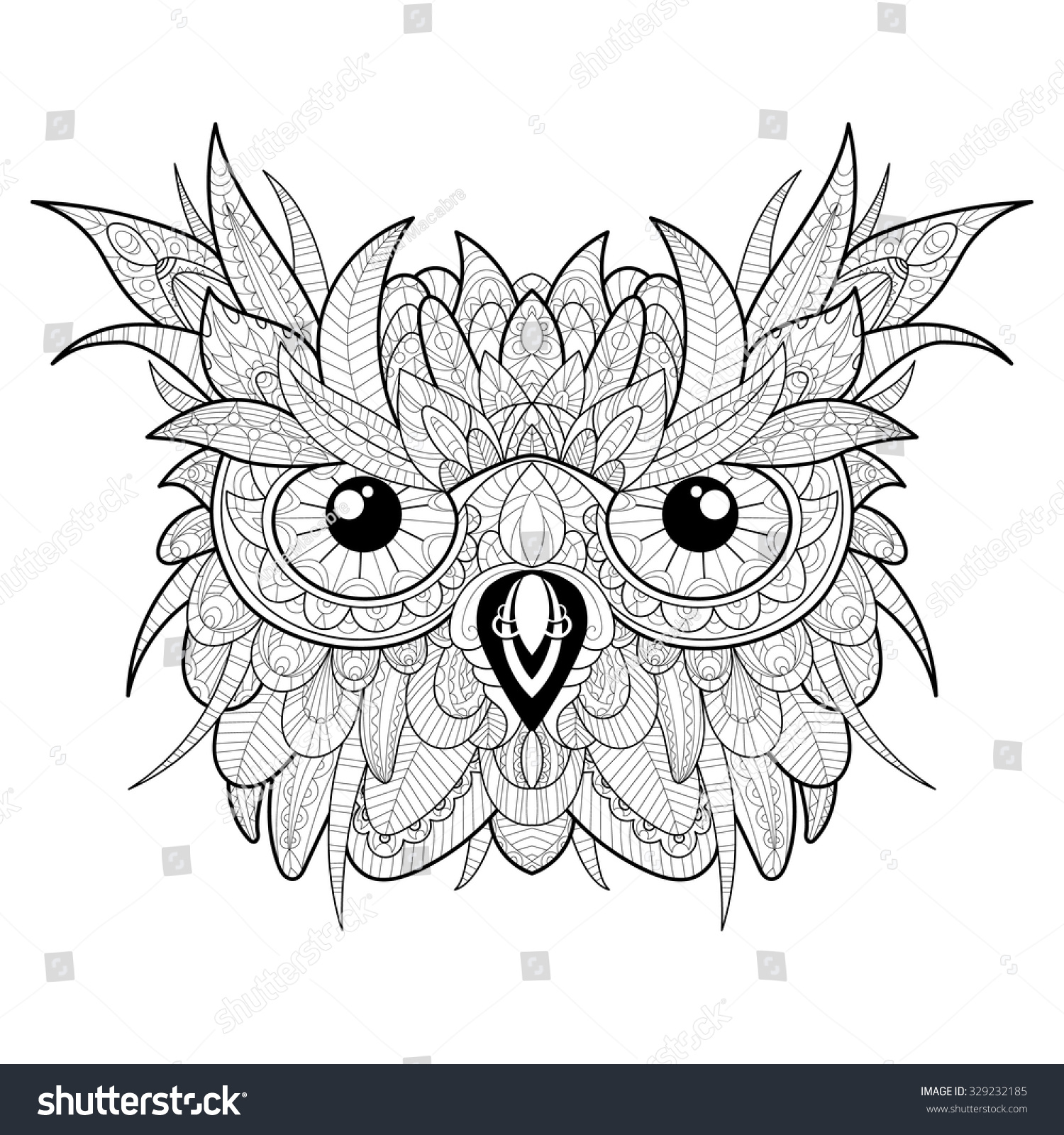 Hand Drawn High Detailed Owl Head Stock Vector 329232185