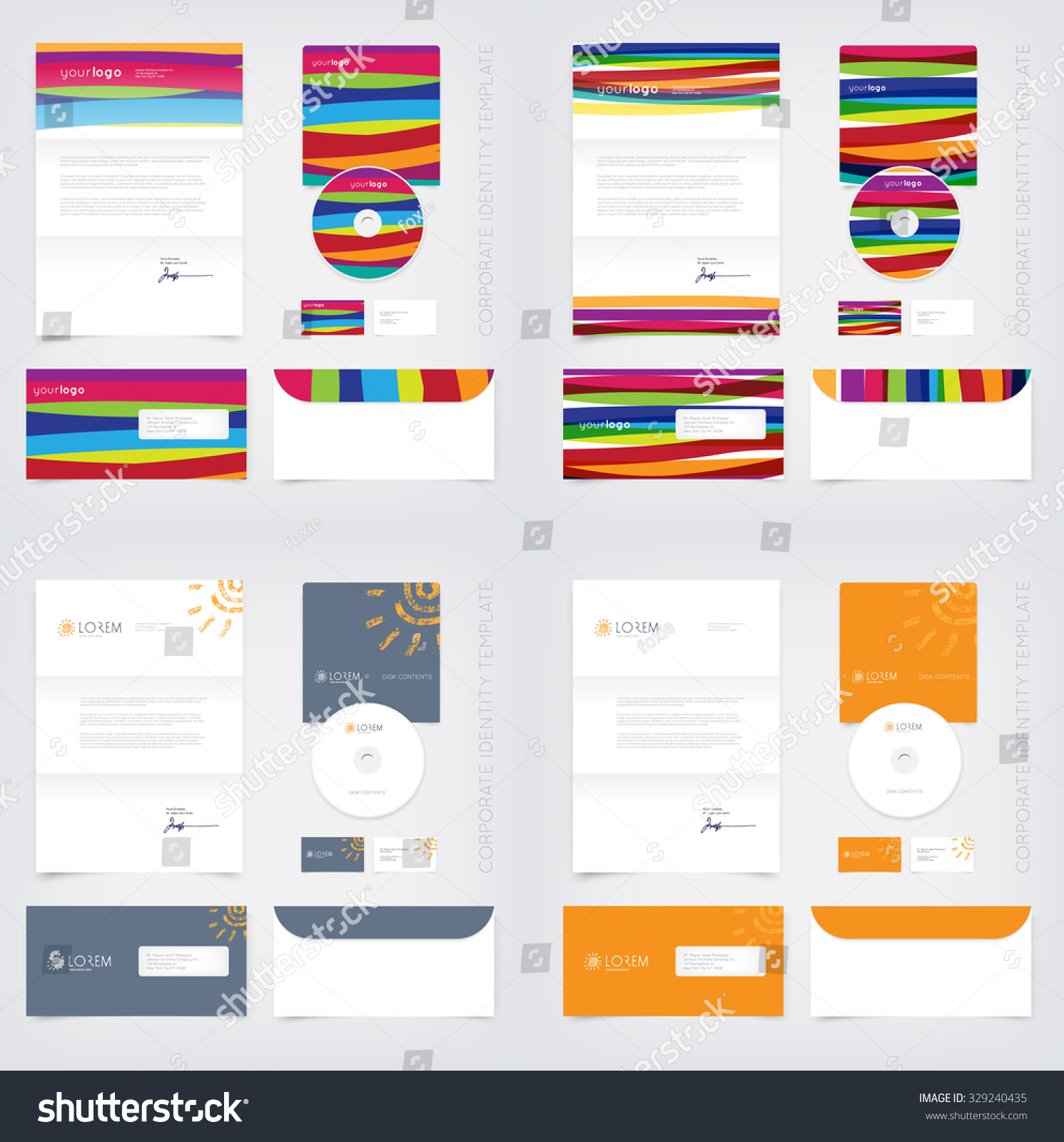 vector business stationary design templates collection stock vector