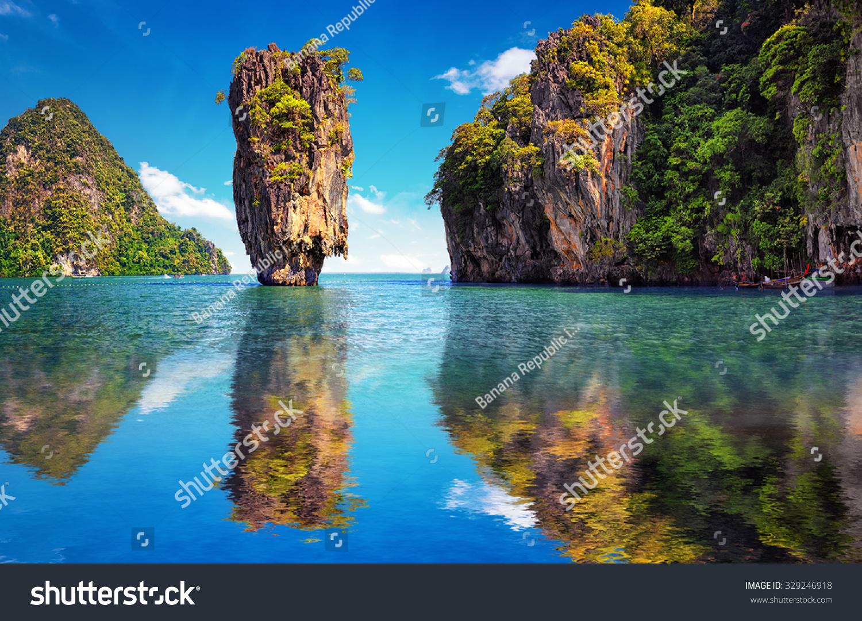 Beautiful Nature Of Thailand. James Bond Island Reflects