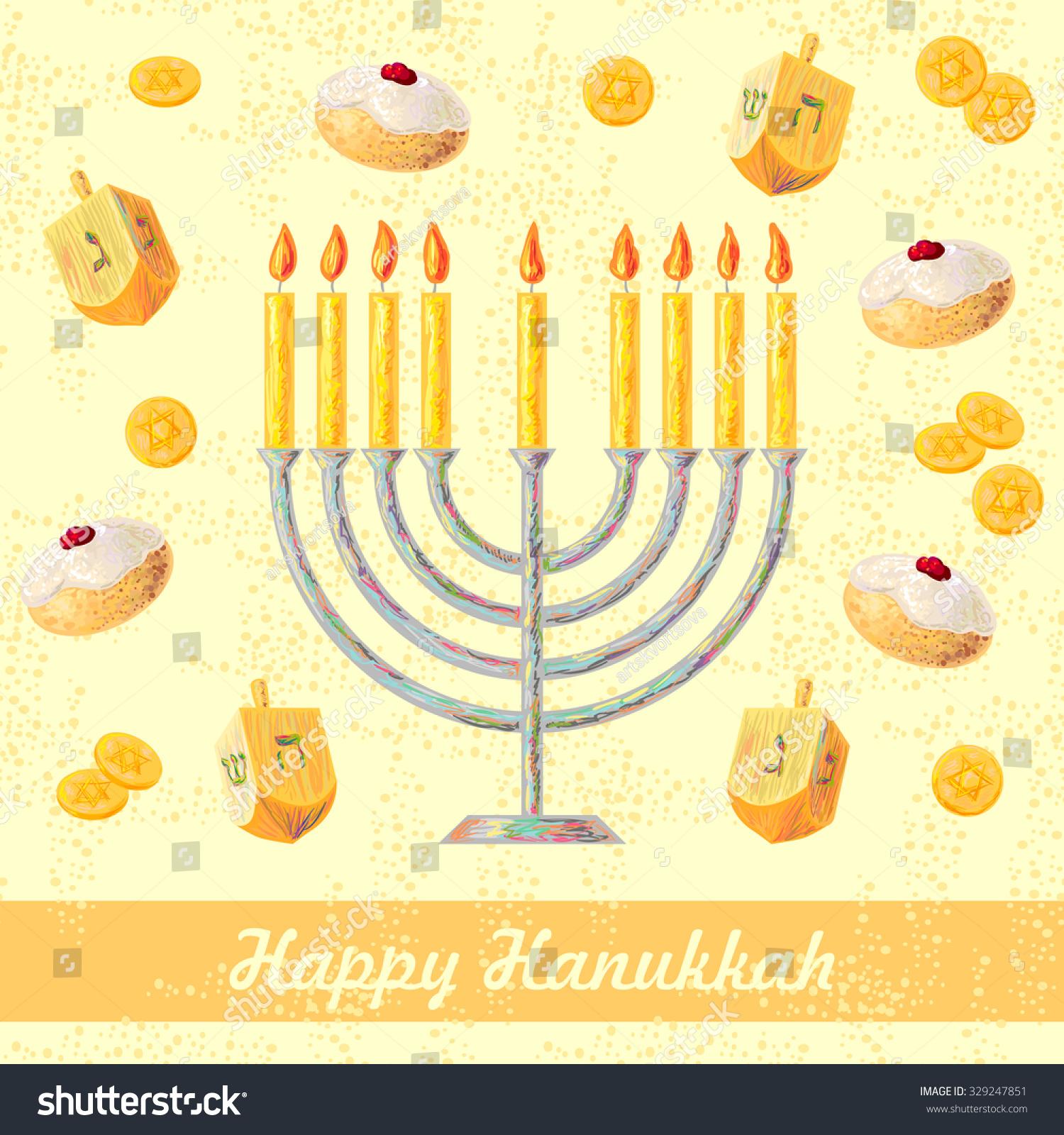 Hanukkah Symbols Menorah Candles Dreidels Vector Stock Vector Hd