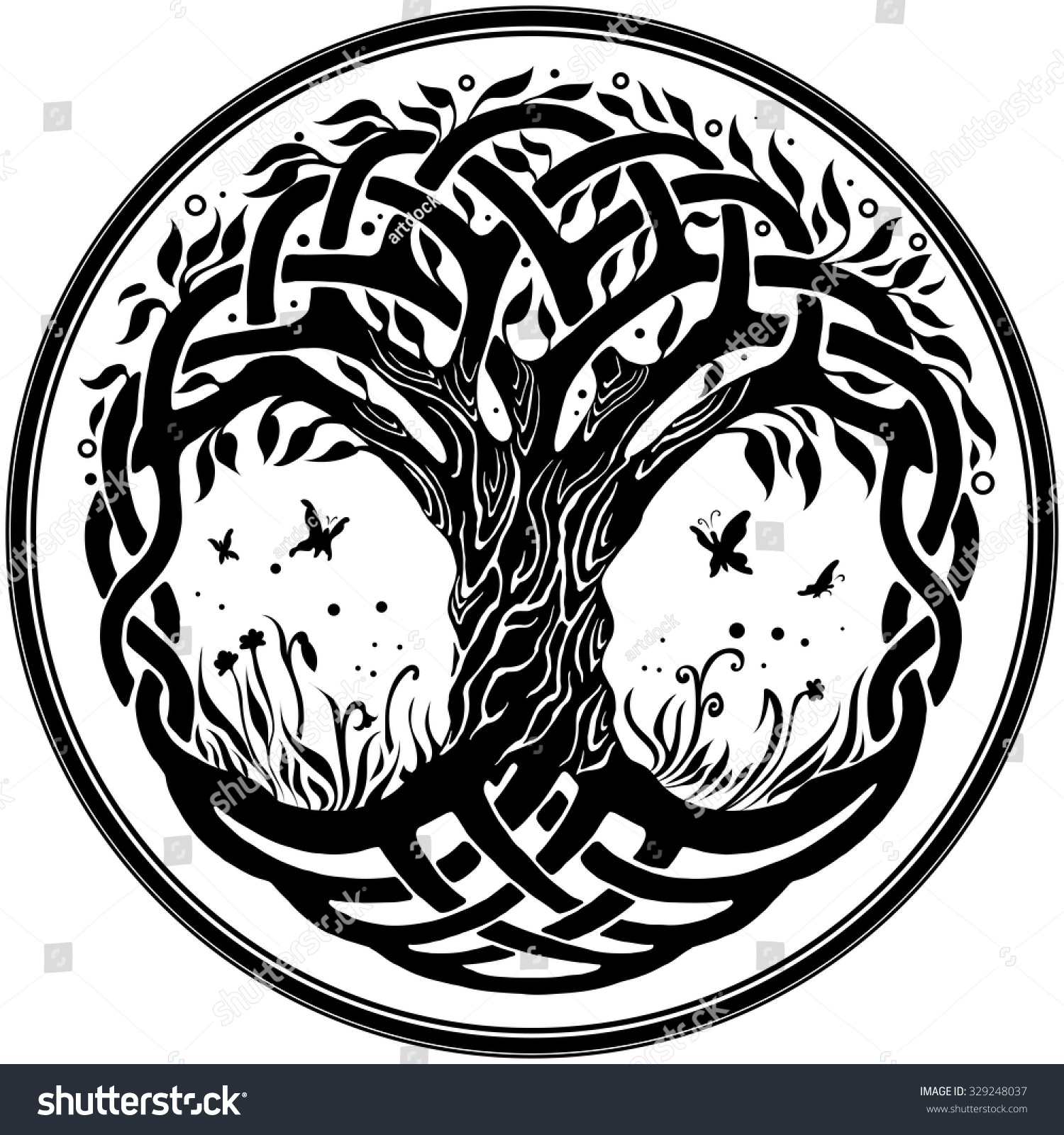 Tree of life ornament - Vector Ornament Decorative Round Celtic Tree Of Life