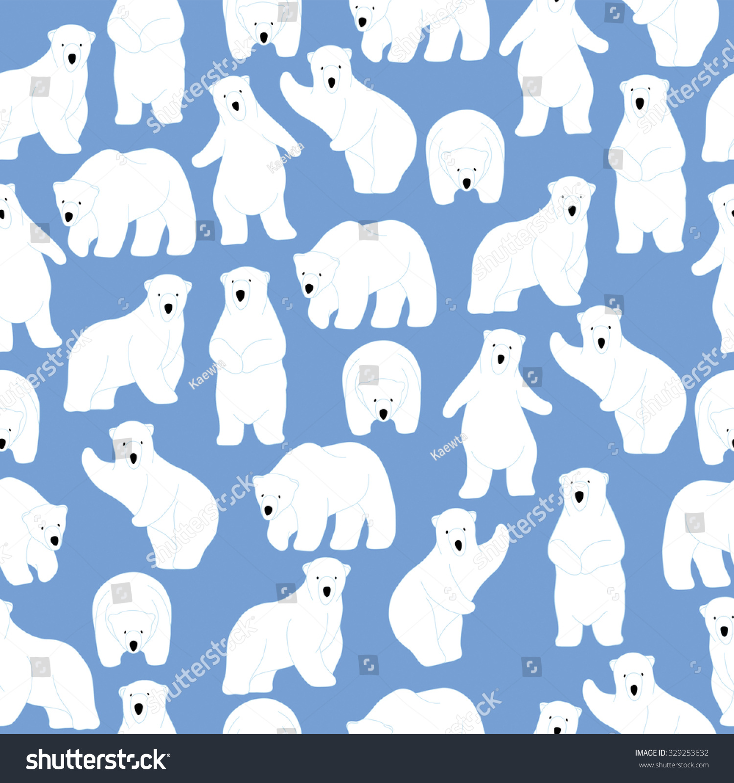 Polar Bear Pattern Seamless Pattern Background Stock Vektorgrafik