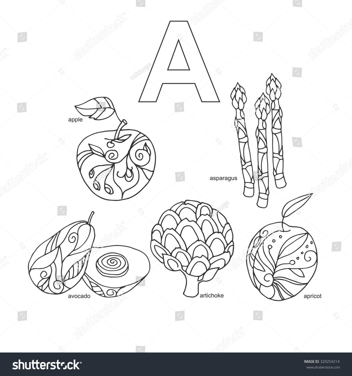 Letter a fruits and veggies words alphabet coloring page