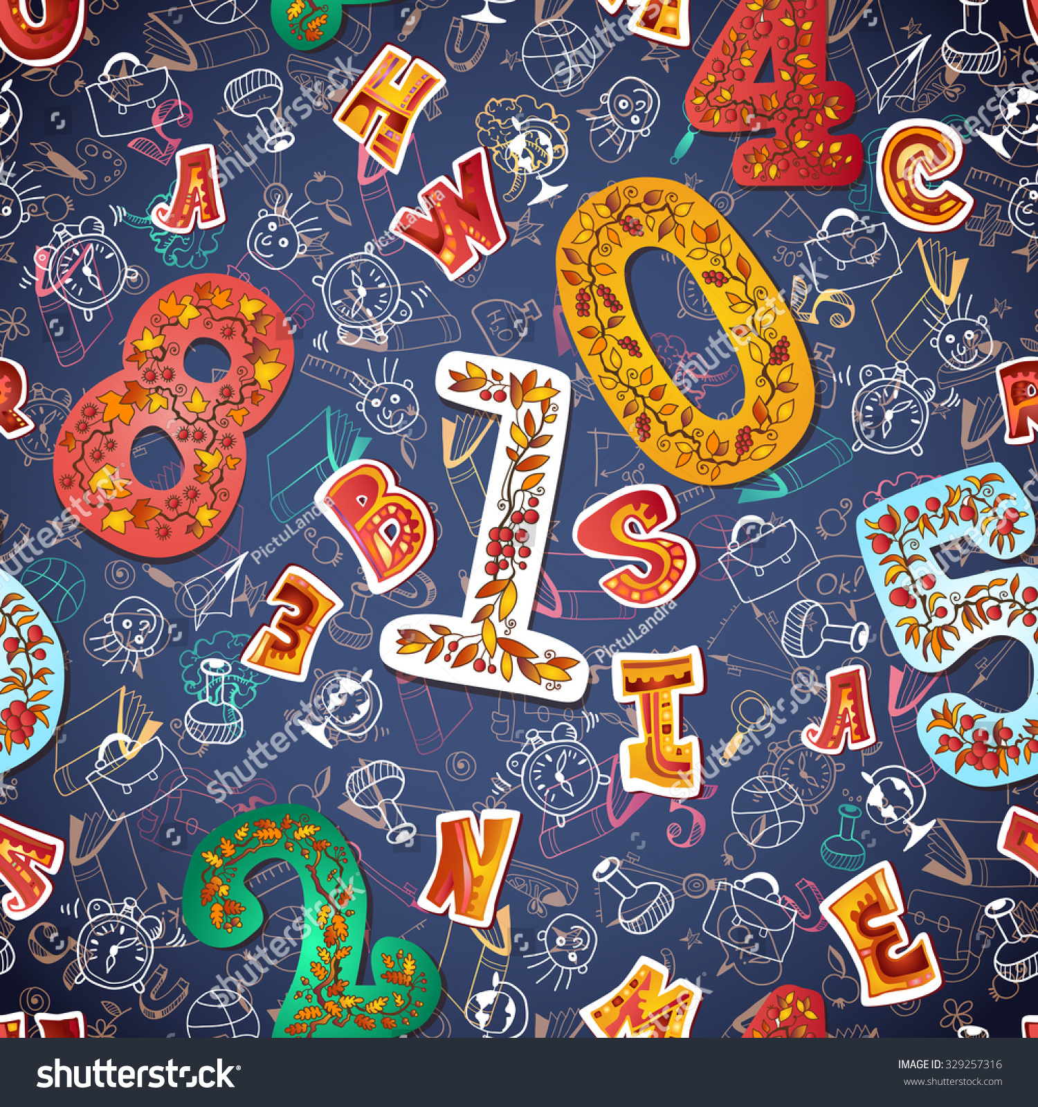 Seamless alphabet numbers background posters prints stock - Number wallpaper ...