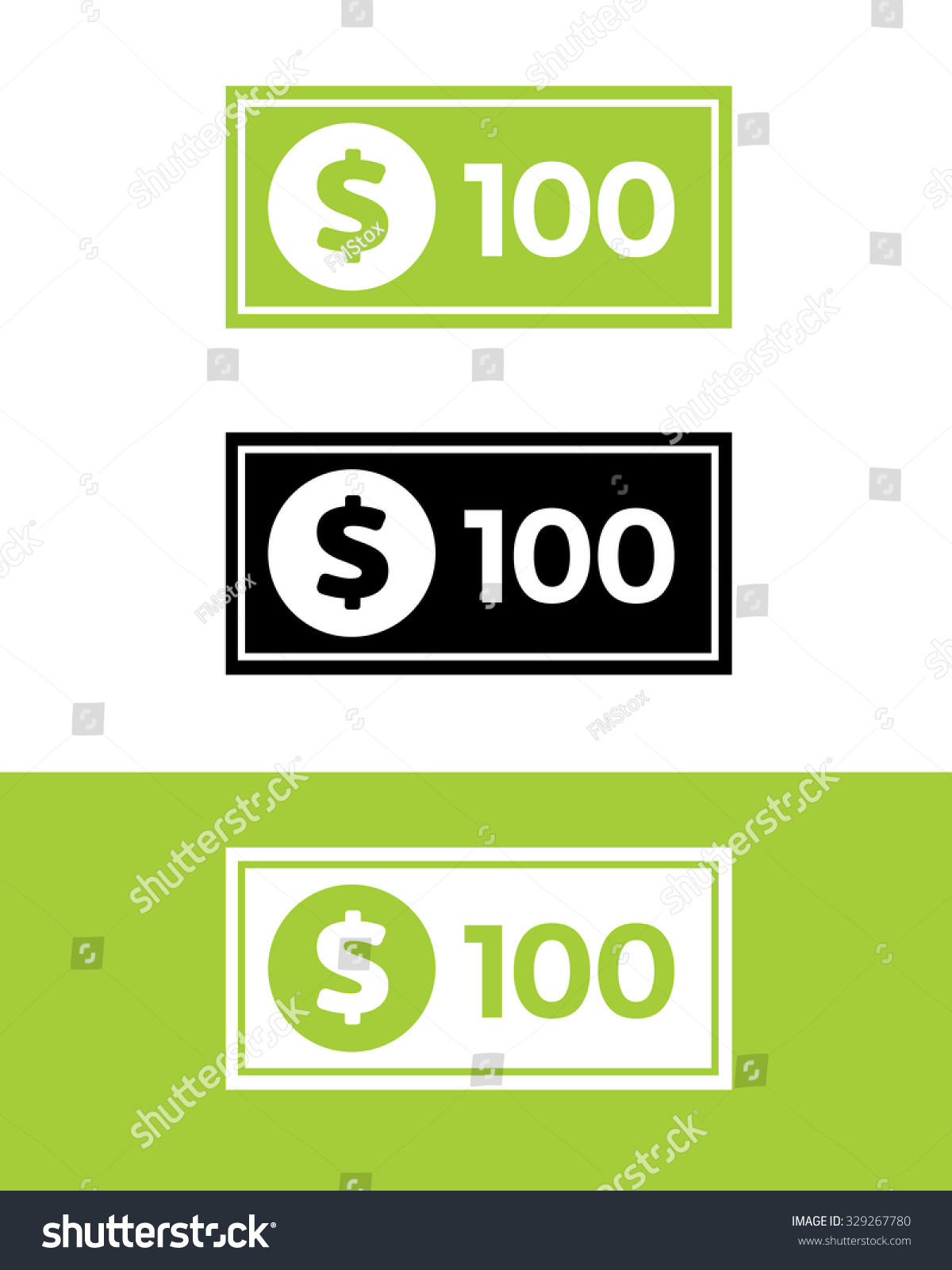 Vector Hundred Dollar Bill Set Color Stock Photo (Photo, Vector ...