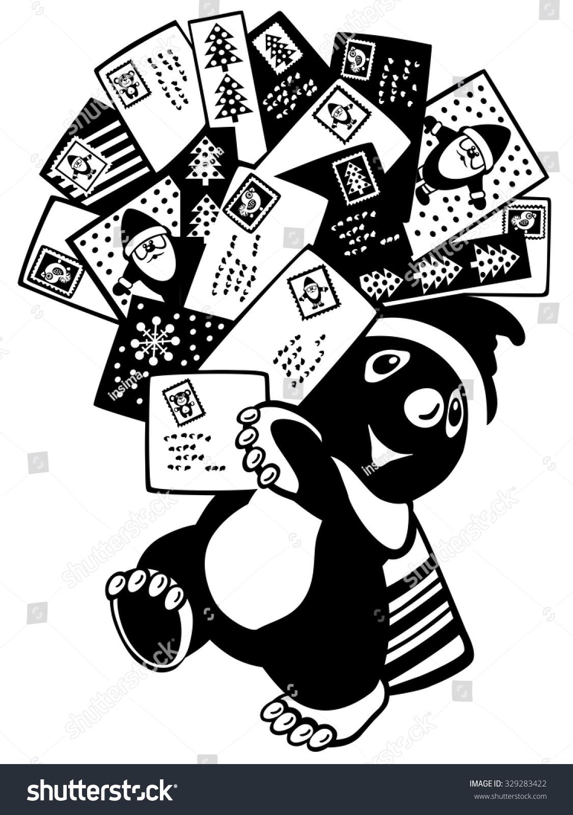 Cartoon Mole Holding Christmas Greeting Cards Stock Photo Photo