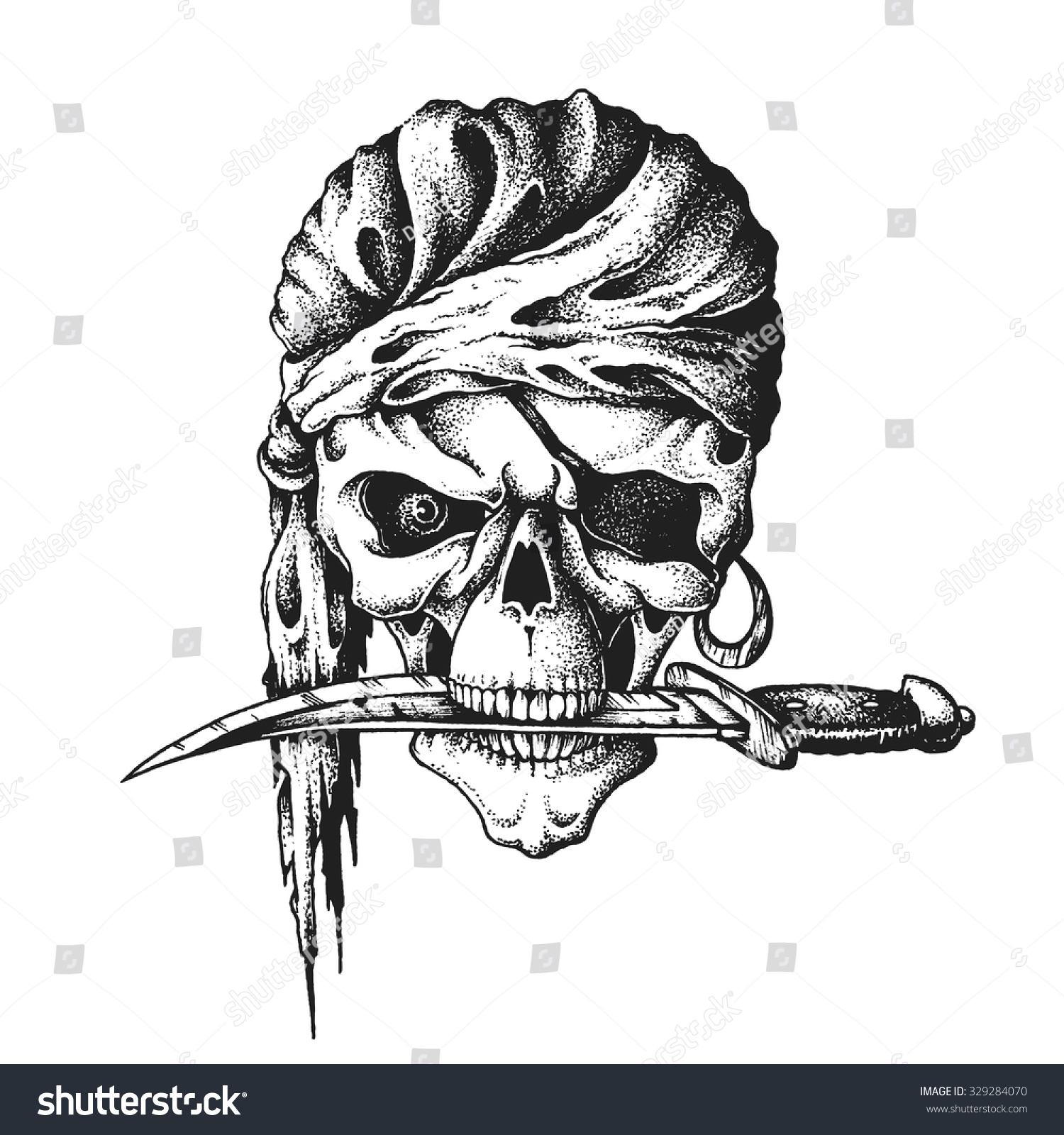 hand drawn pirate skull headscarf knife stock vector 329284070