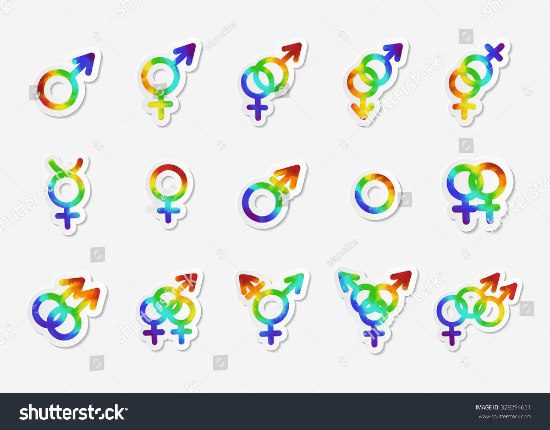 Gender identity icon set bisexual female stock vector 329294651 bisexual female gay hetero intersex lesbian buycottarizona