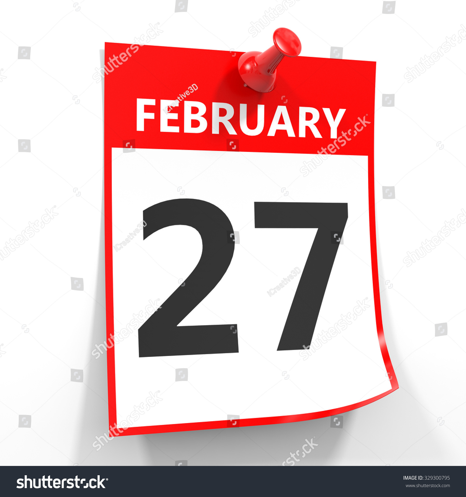 Calendar Illustration Search : February calendar sheet with red pin on white