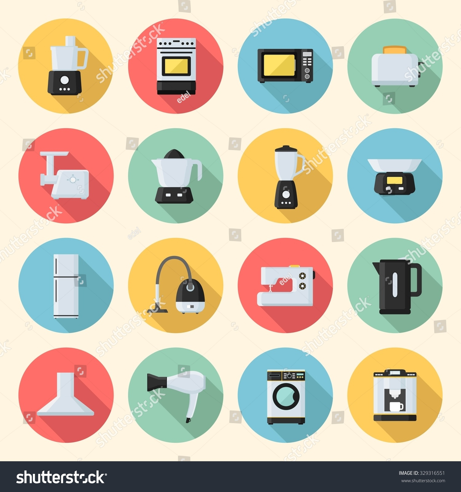 home appliances electronics colorful flat style stock vector 329316551 shutterstock. Black Bedroom Furniture Sets. Home Design Ideas