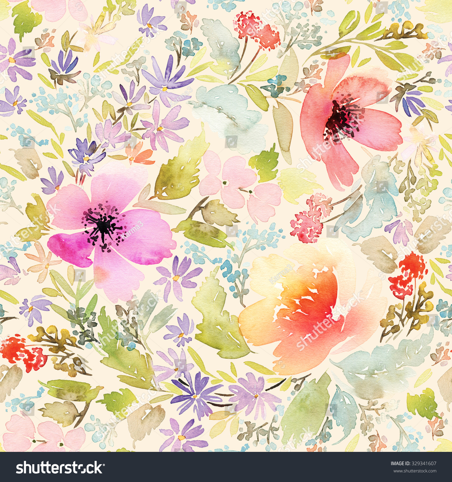 Seamless Spring Pattern Watercolor Painting Well Suited For The