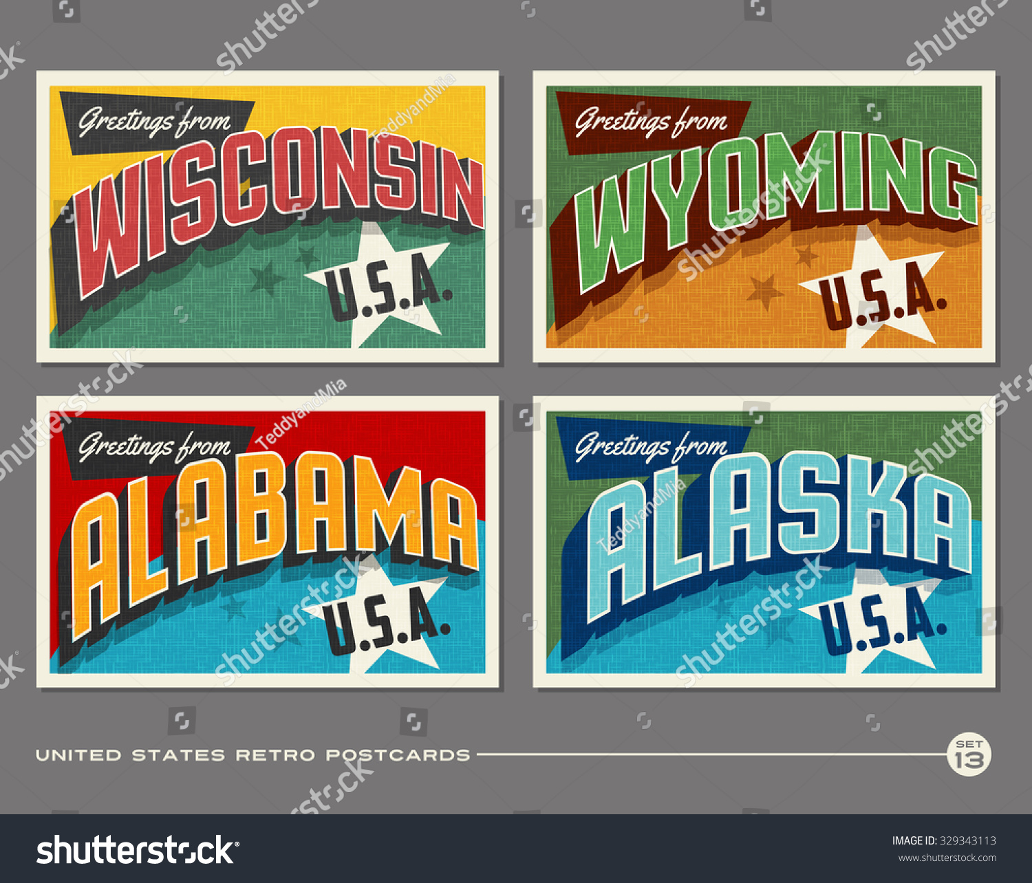 United States Vintage Typography Postcards Wisconsin Stock Vector ...