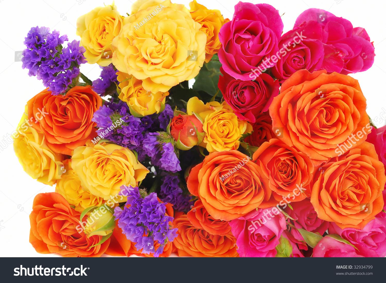 Bouquet Pink Orange Yellow Roses Purple Stock Photo Edit Now