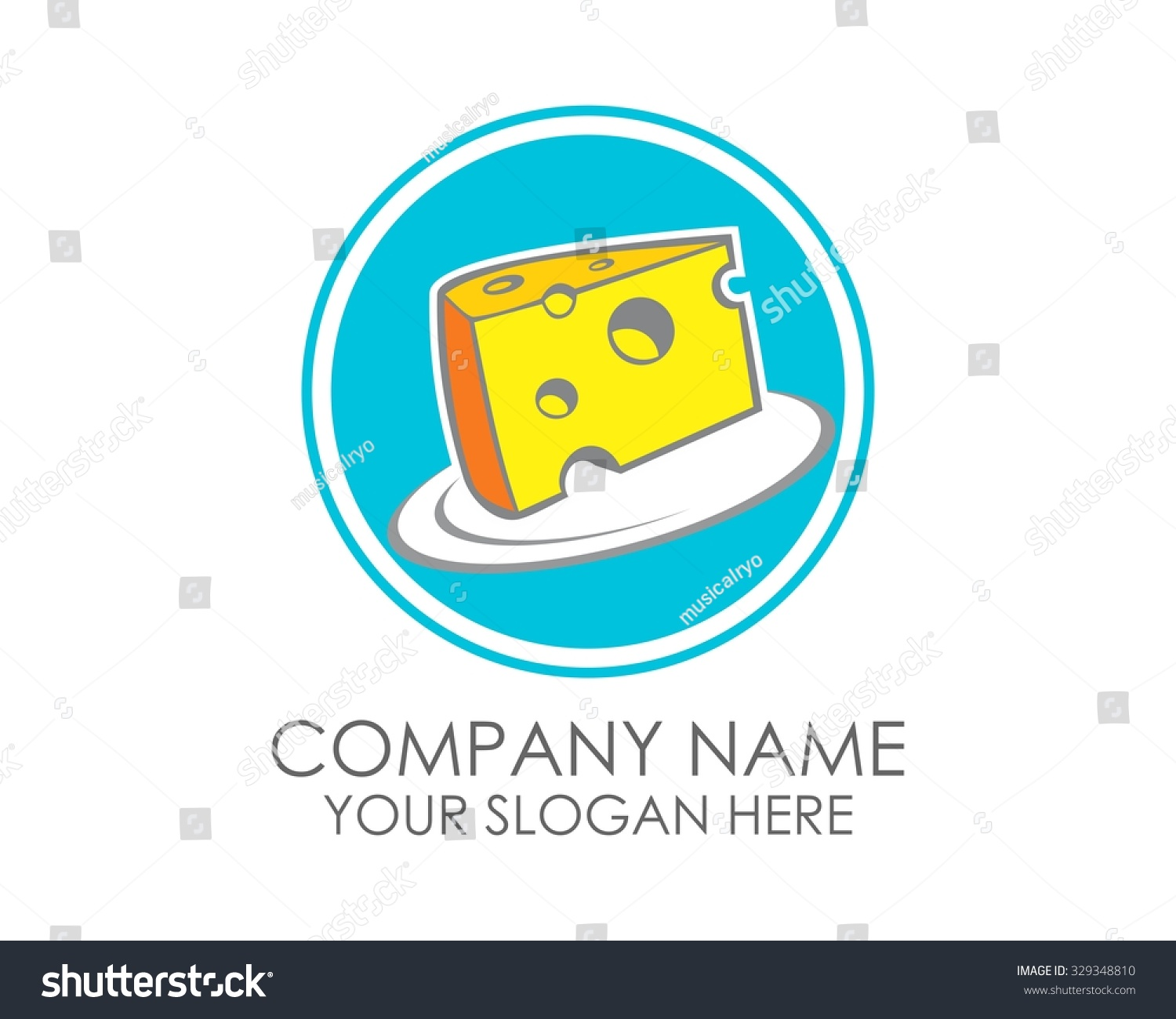 Circle Blue Swiss Cheese Slice Logo Stock Vector 329348810 ...
