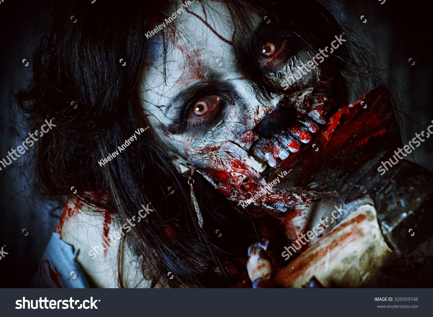 Scary Bloody Zombie Girl With An Ax. Halloween. Stock ...