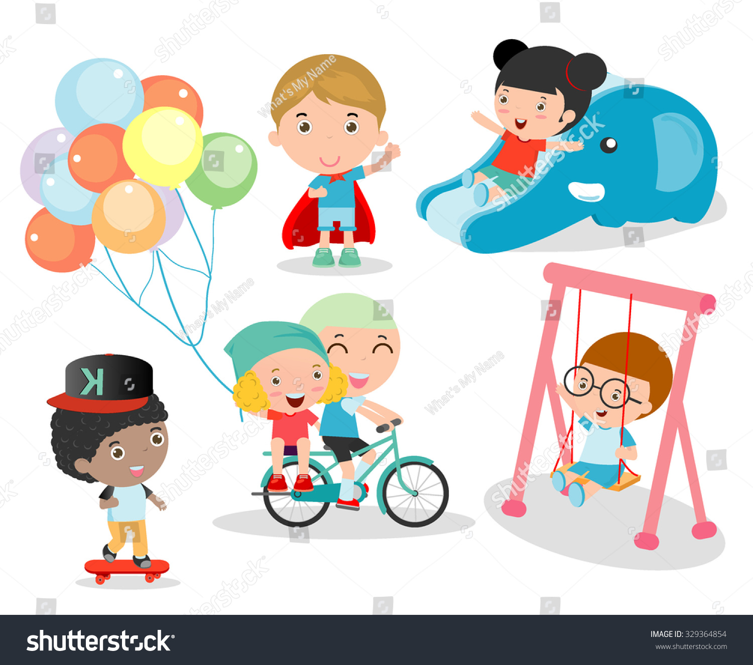 Cute Children Playing Toys Playground Children Stock Vector Royalty