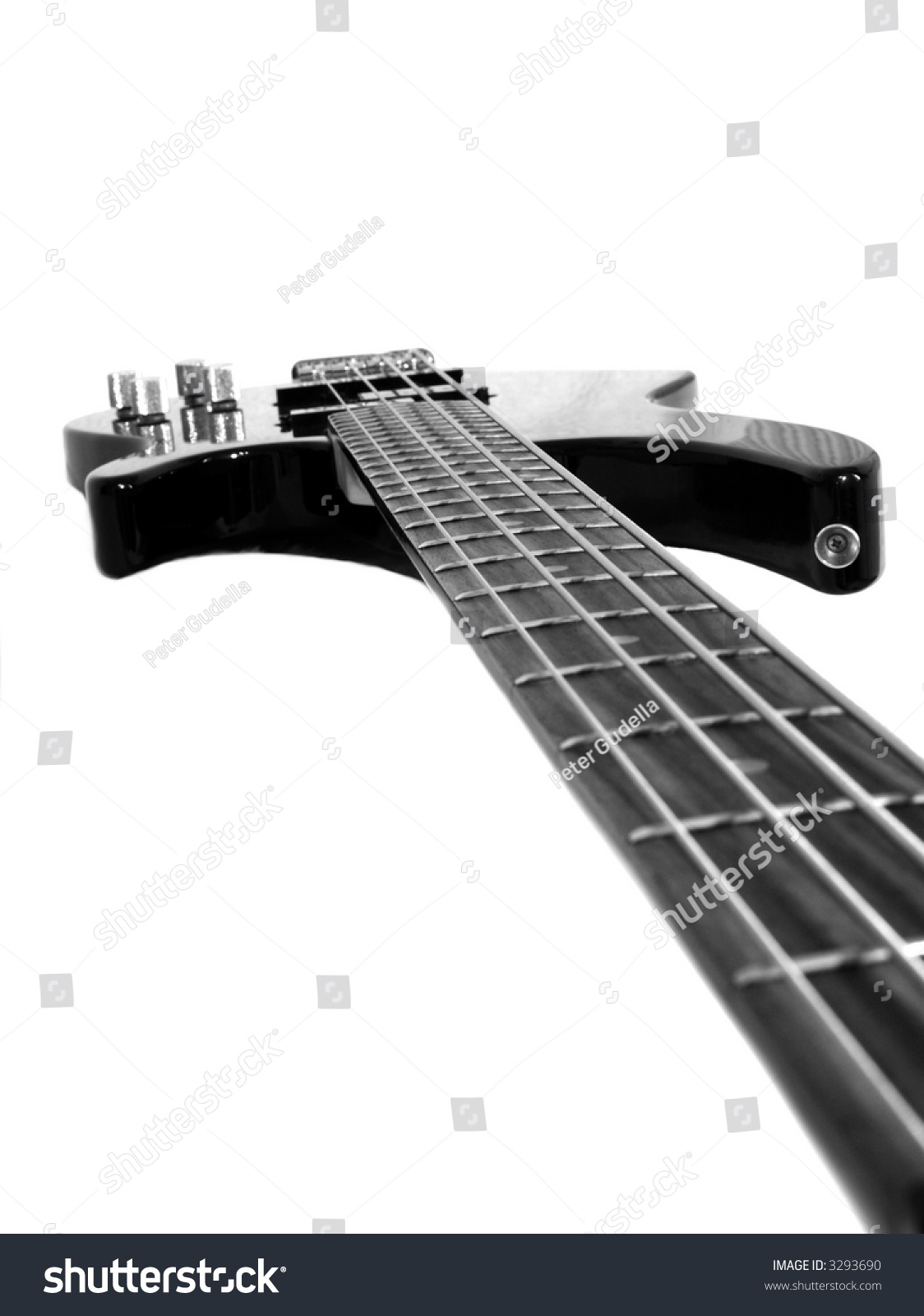 Black Bass Guitar Isolated On White
