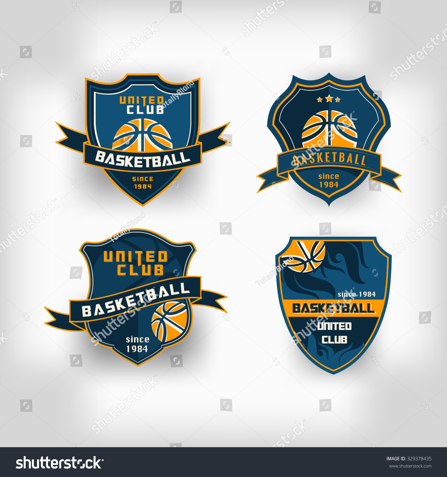 set of basketball college team emblem logo crest