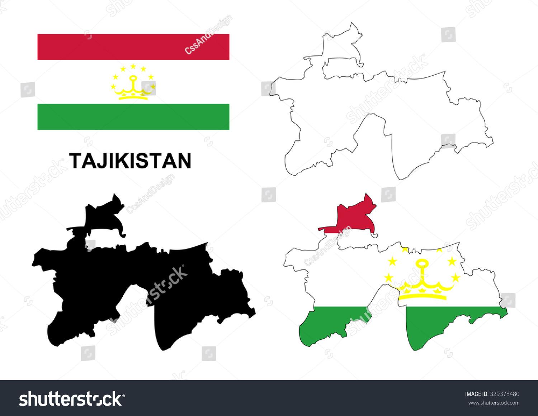 Tajikistan Map Vector Tajikistan Flag Vector Stock Vector - Tajikistan map vector
