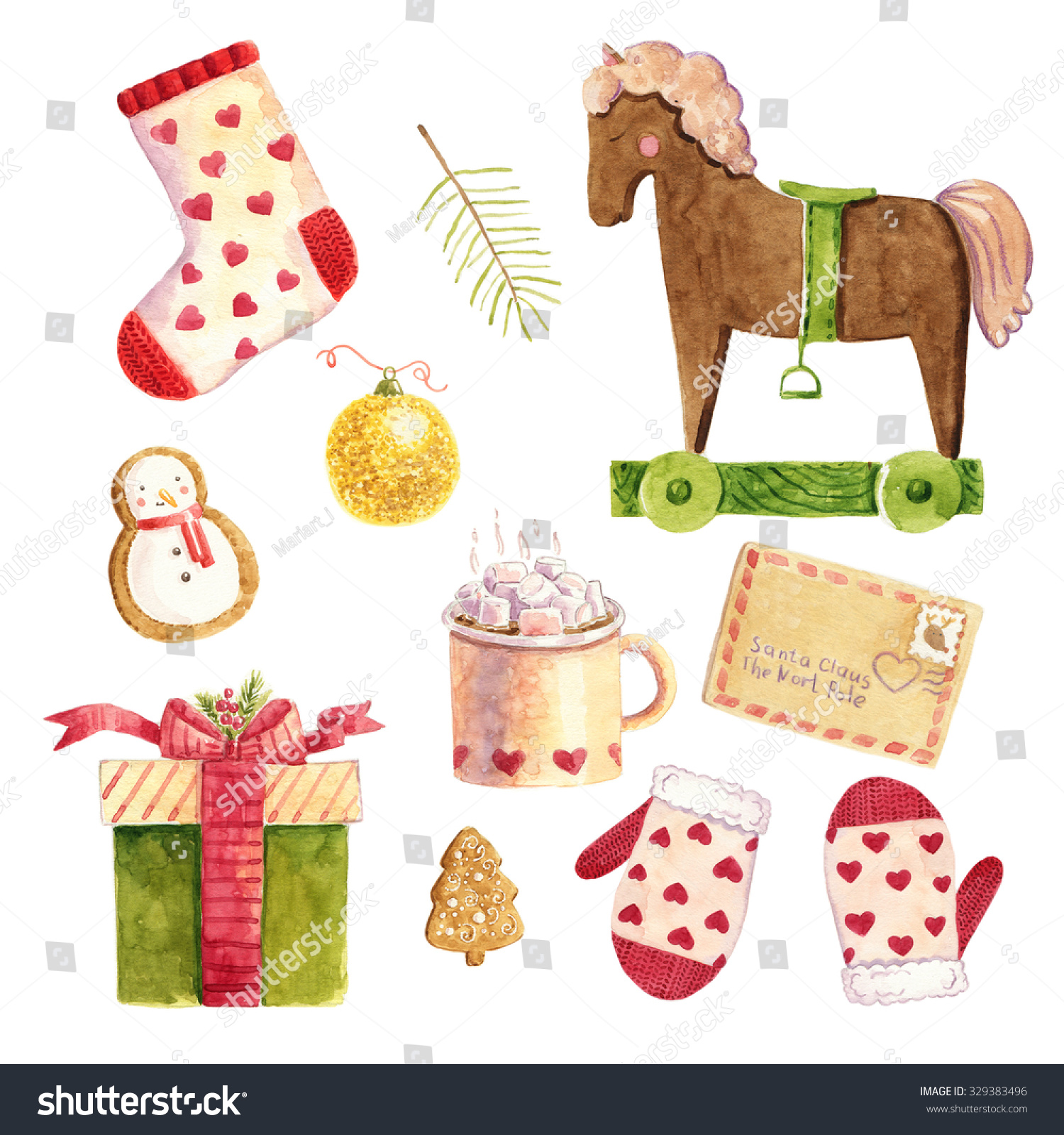 Watercolor Christmas Cute Illustrations Collection. Christmas Set ...