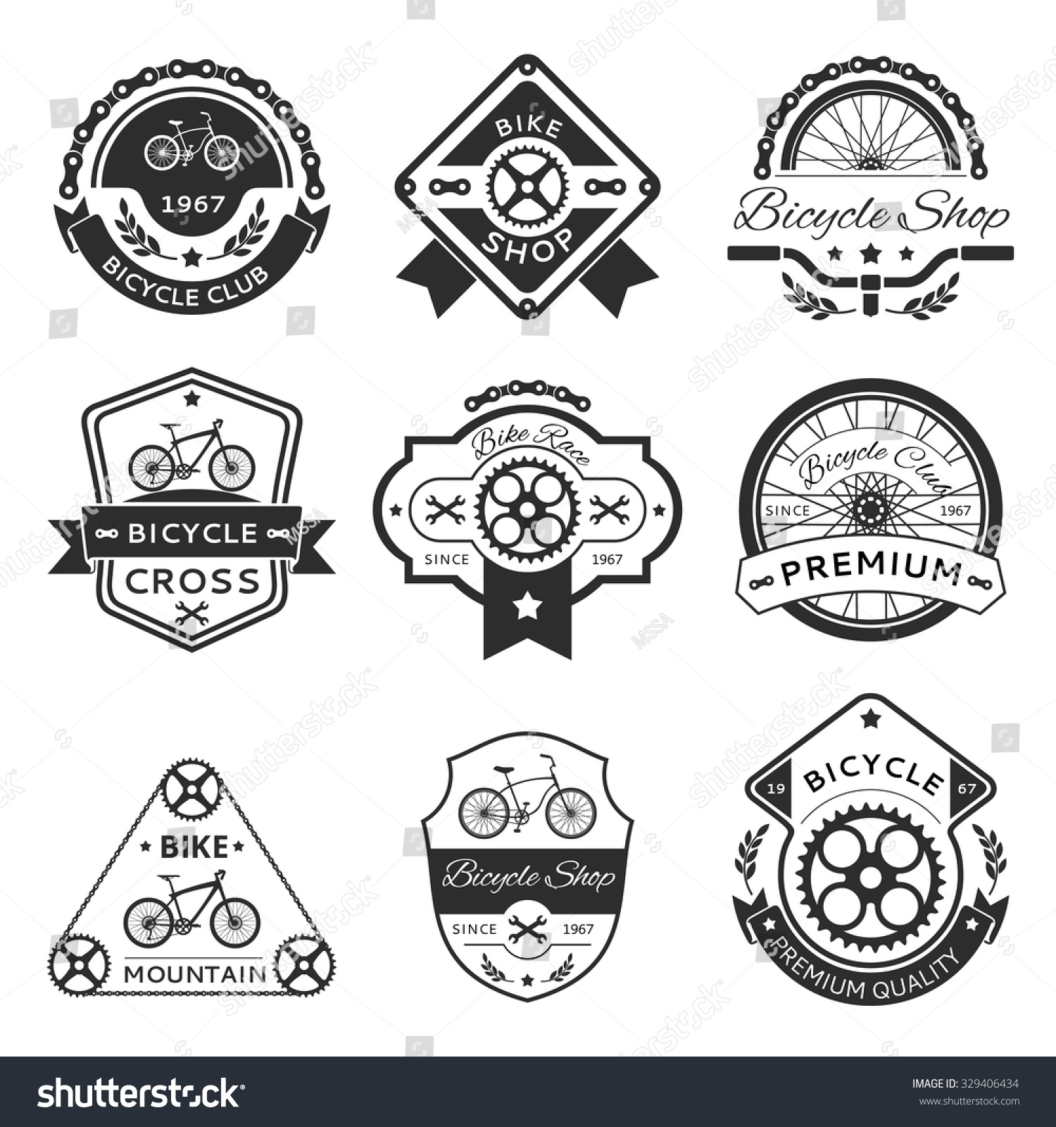Bicycle labels emblems logo vector template stock vector royalty bicycle labels emblems logo vector template vector set bike design sticker or stamp maxwellsz