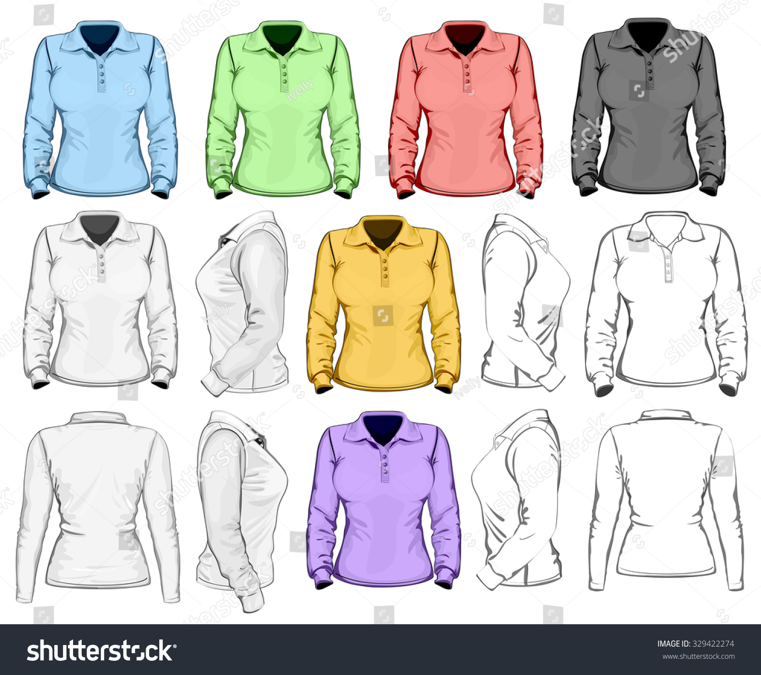 Shirt jacket design - Women S Long Sleeve Polo Shirt Design Template Front Back And Side View