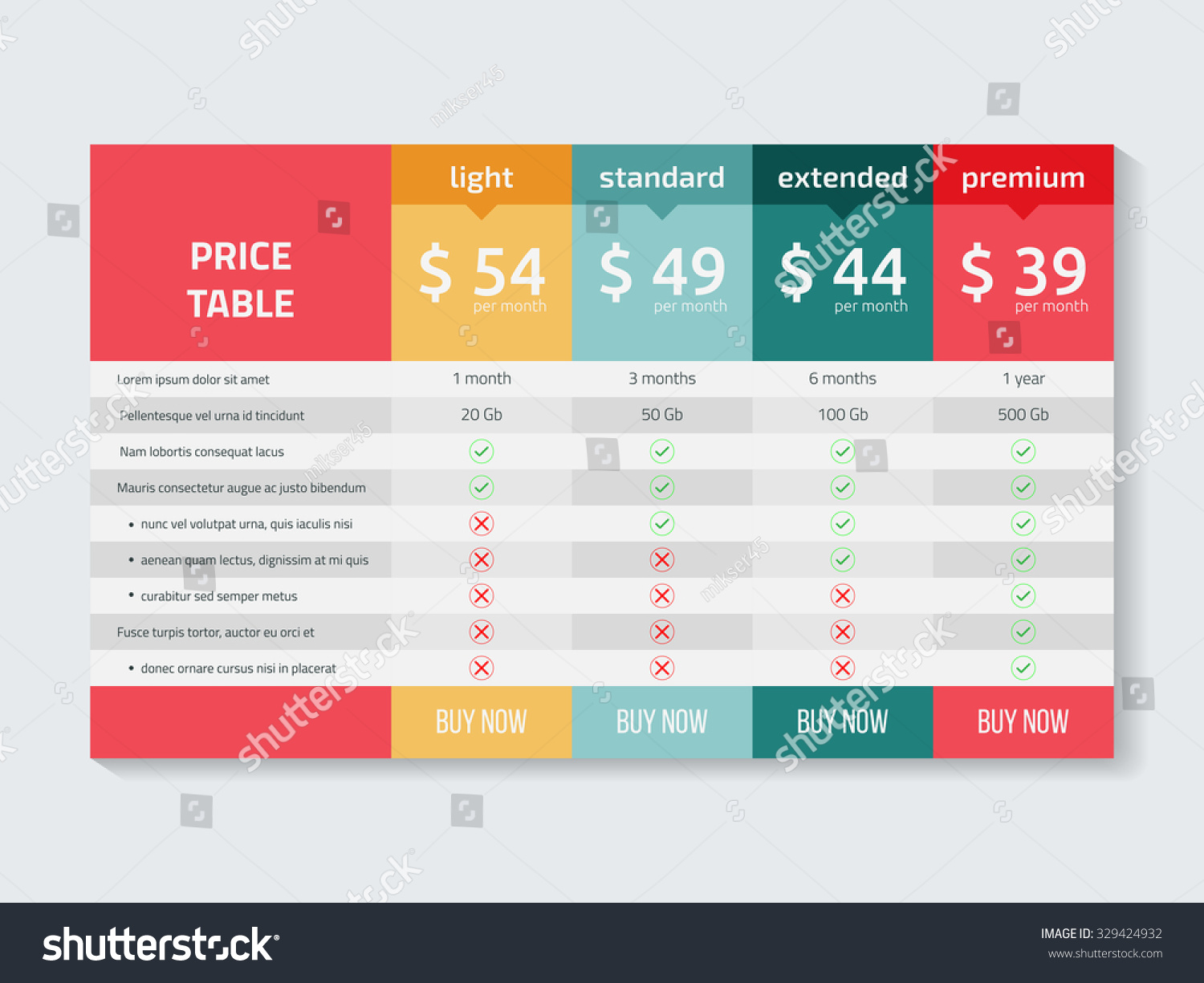 Web pricing table design business vector stock vector for Table design web