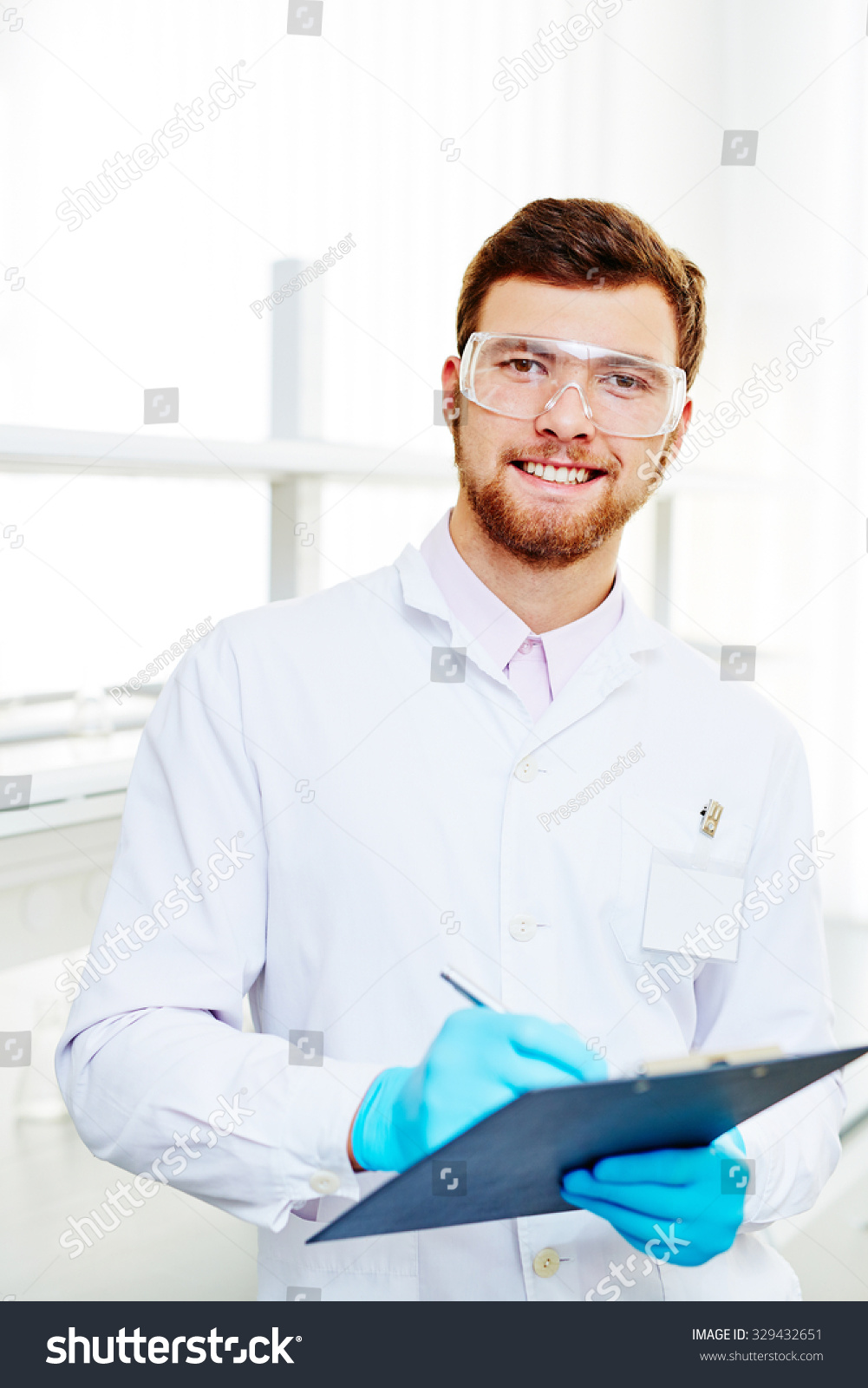 Handsome Chemist Whitecoat Eyeglasses Gloves Making Stock Photo ...