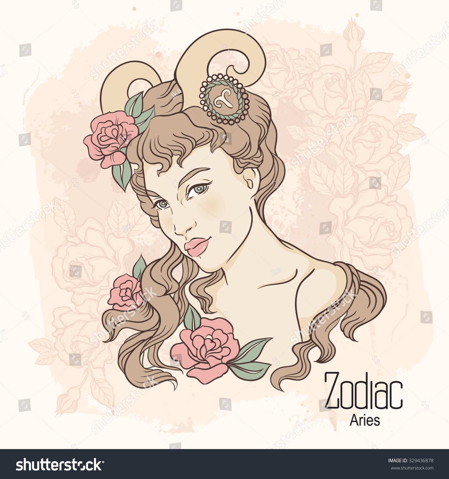 Zodiac illustration aries girl flowers design stock for Flowers for aries woman