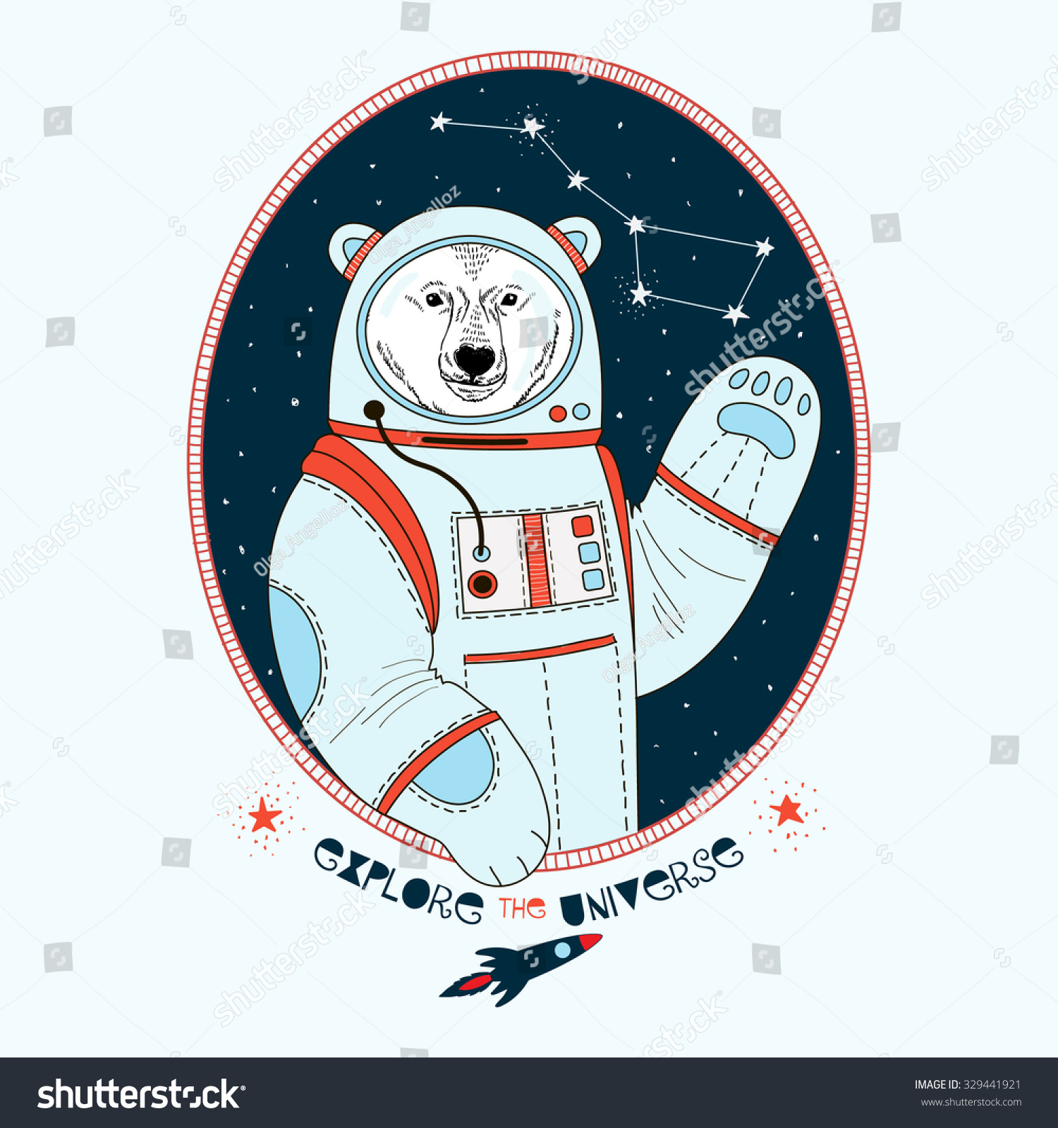 Polar bear astronaut outer space kid stock vector for Outer space industrial design