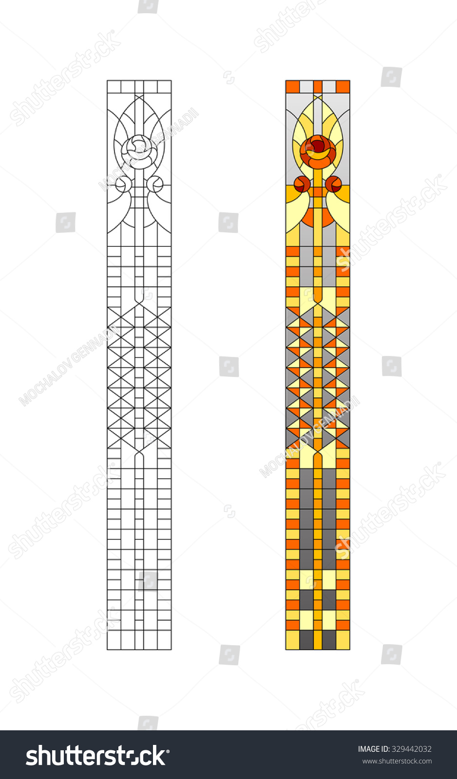 Sketch Stainedglass Windows Stock Vector 329442032 ...