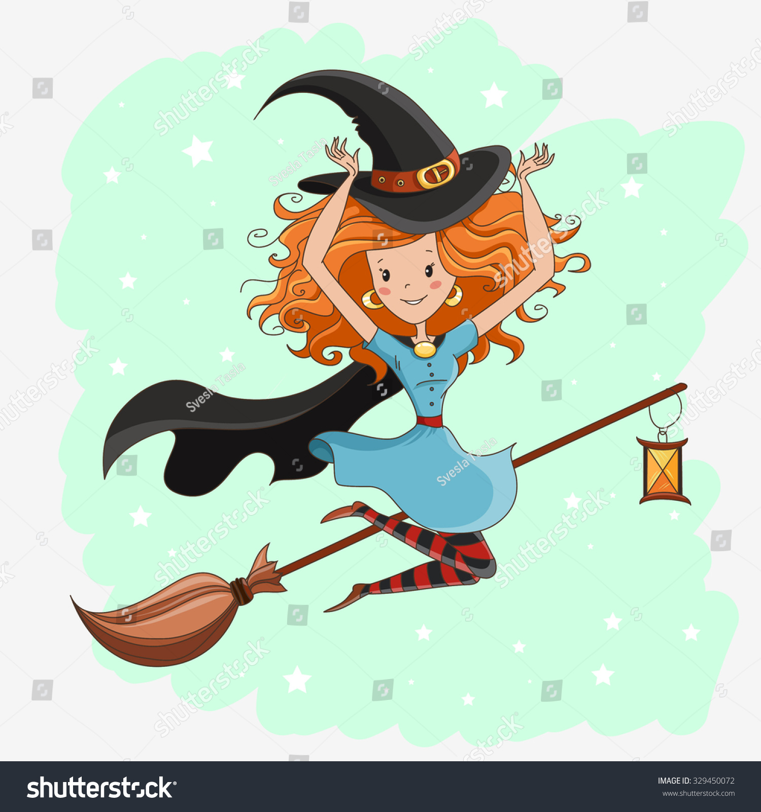 witch halloween witch little witch flying stock vector (royalty free
