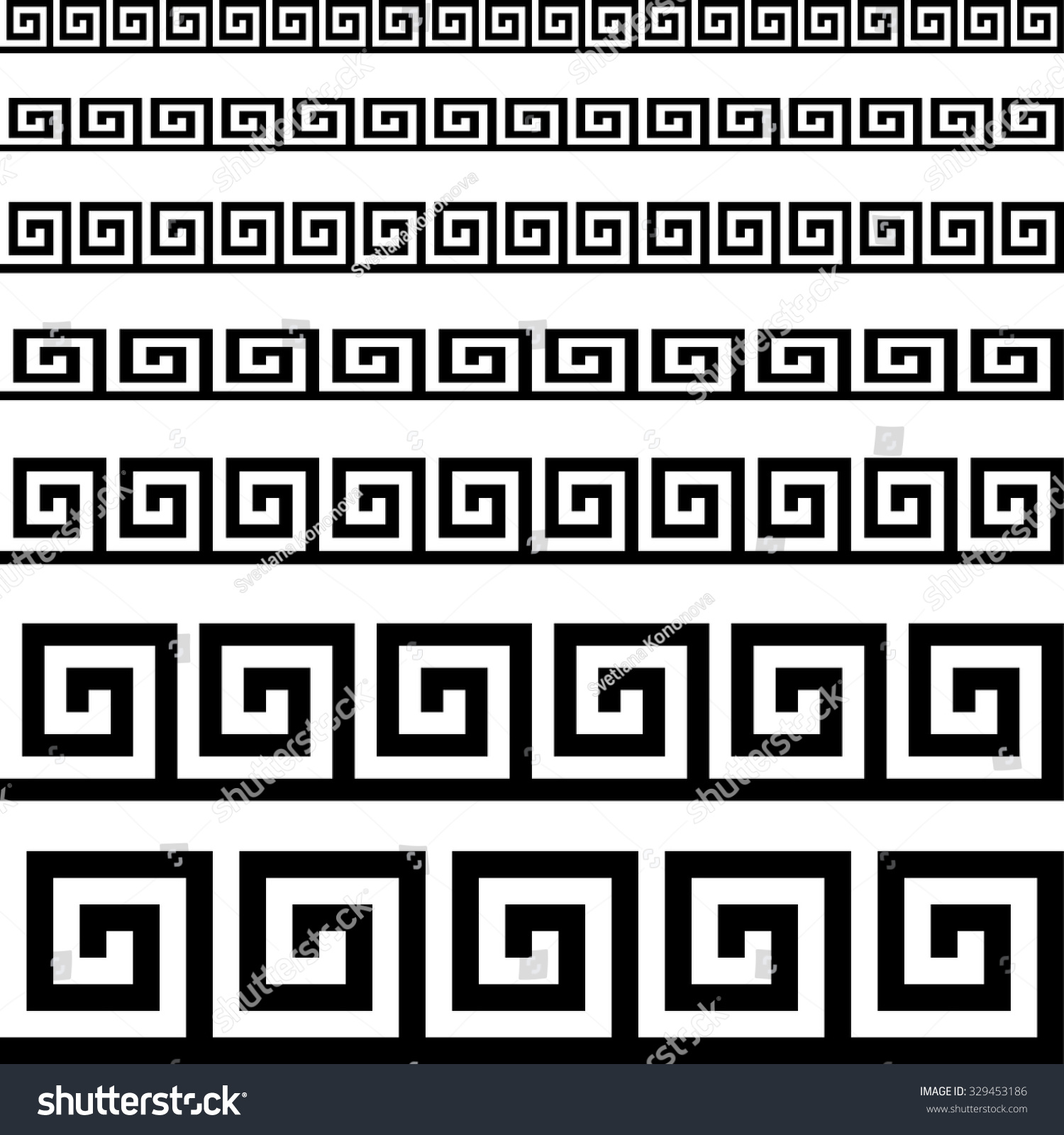 Classical Meander Ancient Greek Pattern Black Stock Vector