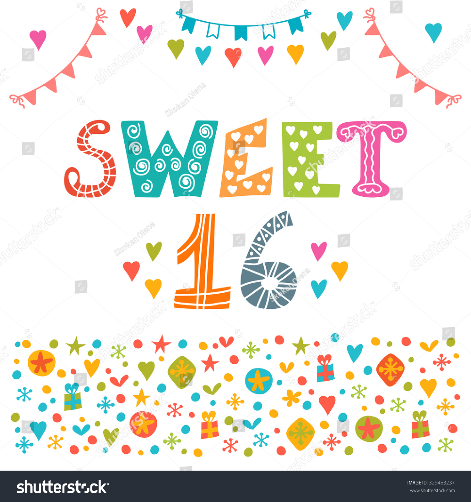 sweet sixteen invitation flyer template design stock vector invitation flyer template design cute hand drawn postcard vector illustration