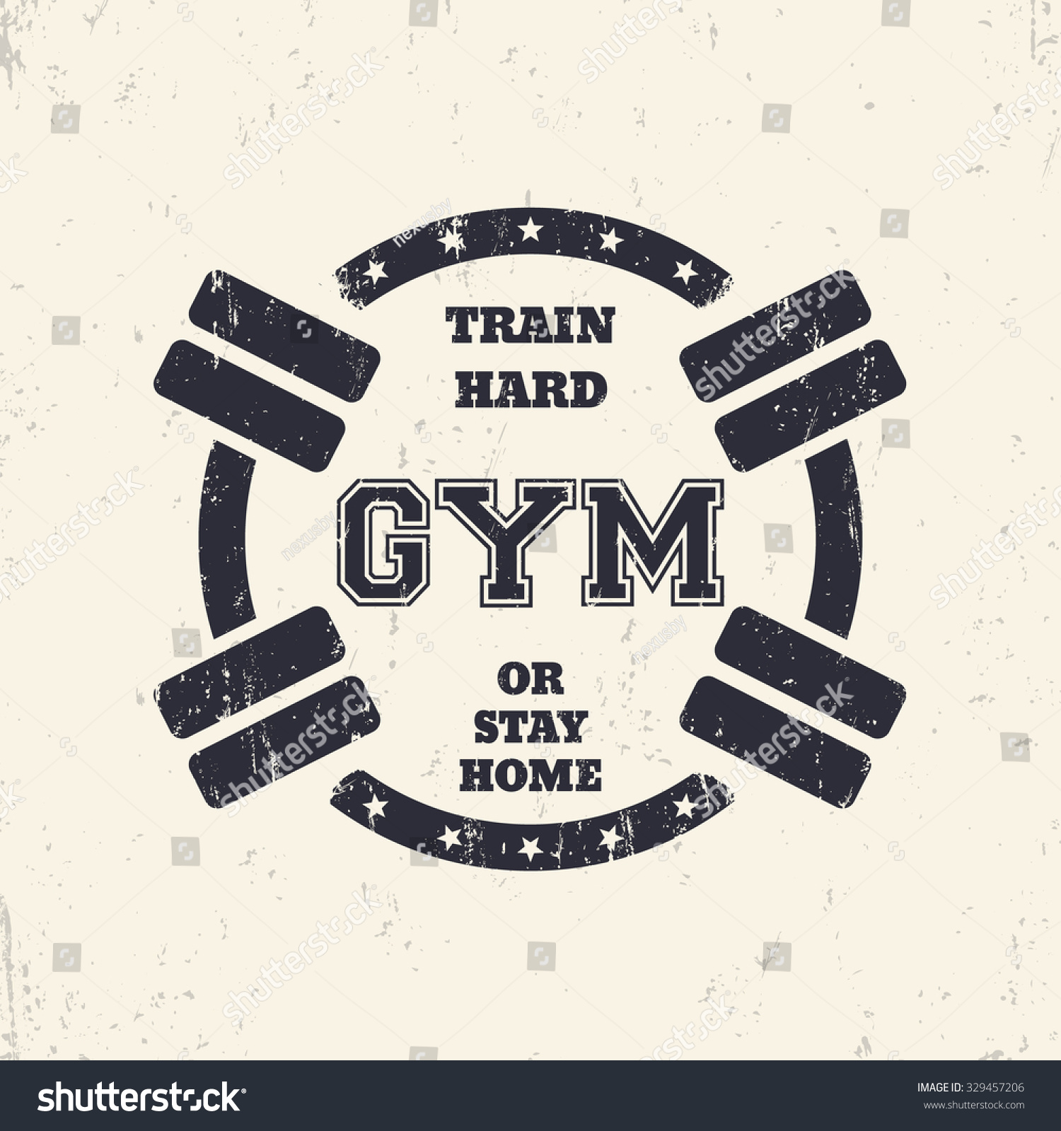 fd7fa8cbc Round grunge gym t-shirt design, print with barbells, vector illustration