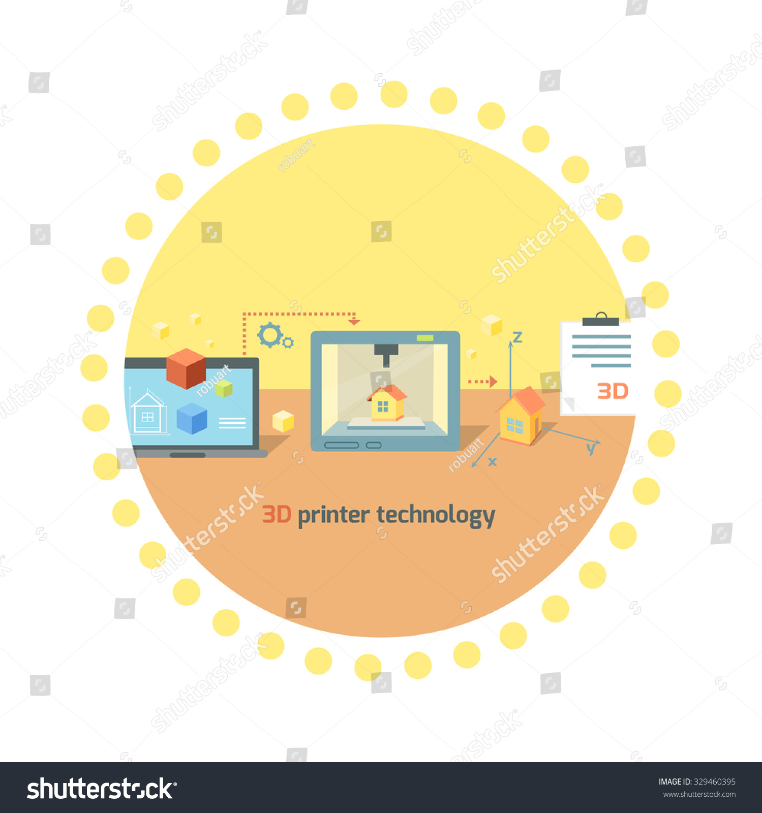 3d printer technology icon flat design stock vector for Innovation in product and industrial design