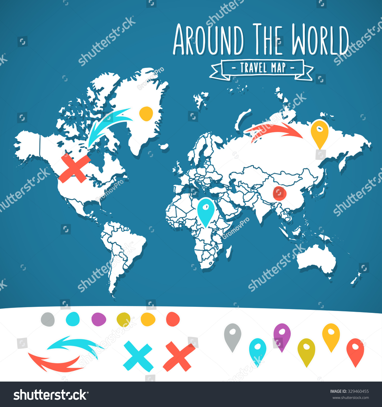 Hand drawn world map pins arrows stock vector 329460455 shutterstock hand drawn world map with pins and arrows vector design cartoon style atlas illustration sciox Choice Image