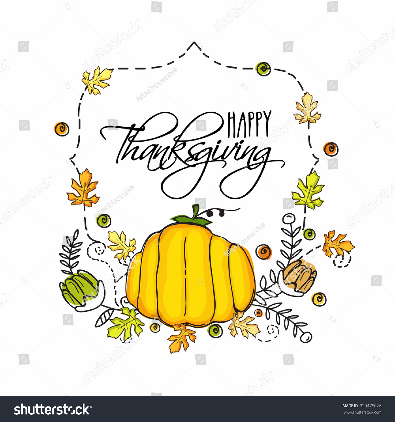Creative greeting card design with shiny pumpkin for Happy Thanksgiving Day celebration