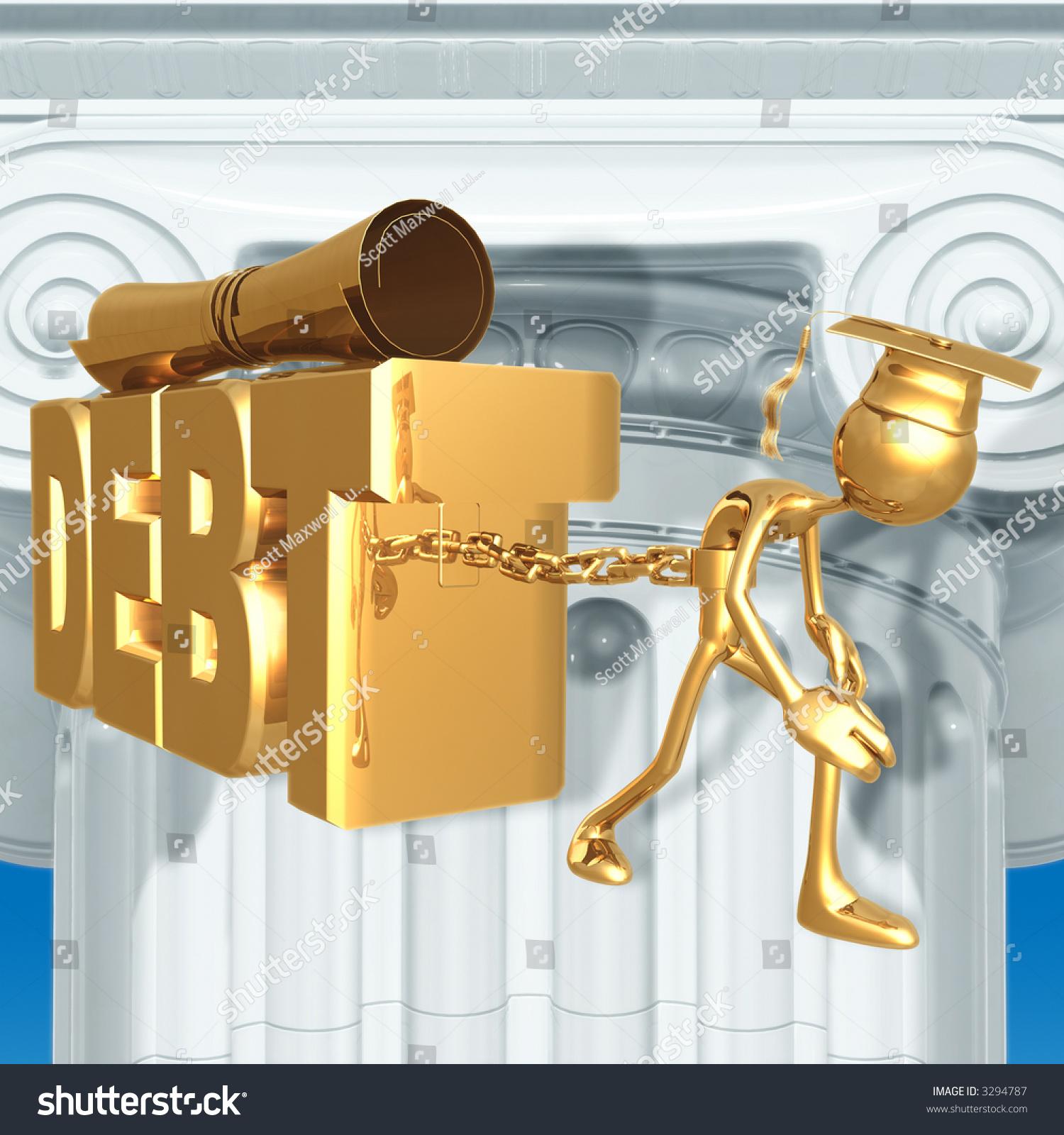 golden grad chained to education debt graduation concept stock photo 3294787 shutterstock. Black Bedroom Furniture Sets. Home Design Ideas