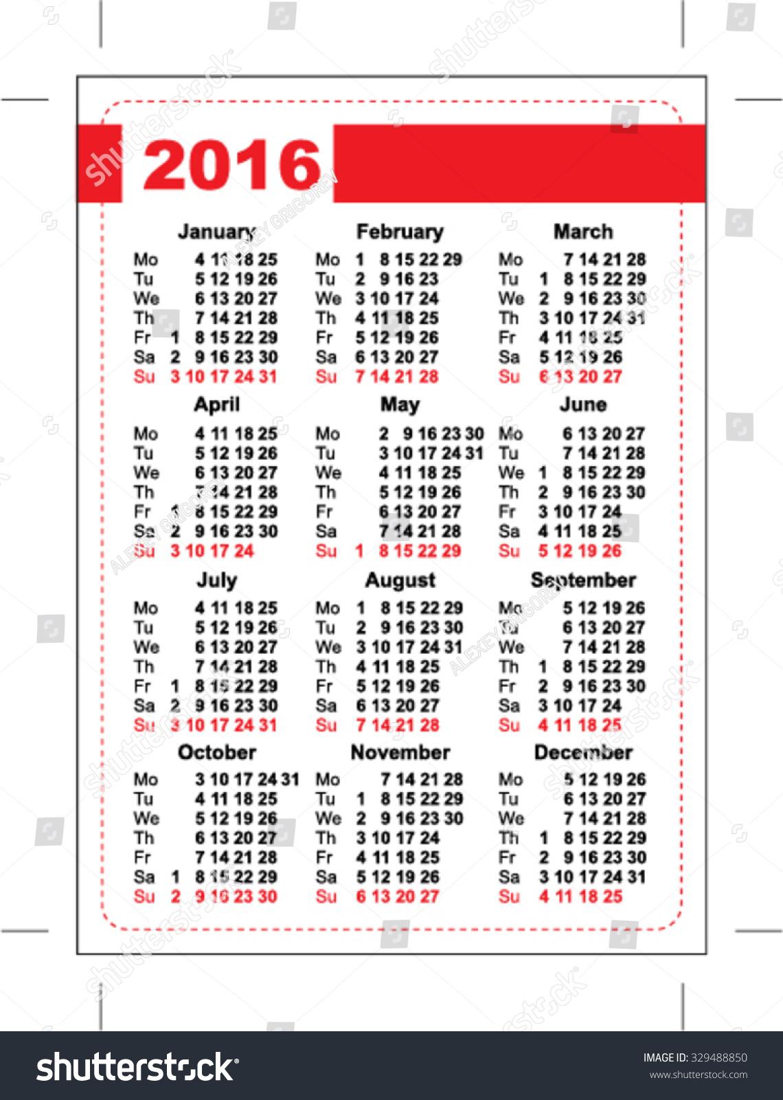 2016 Pocket Calendar Template Calendar Grid Stock Vector 329488850 ...