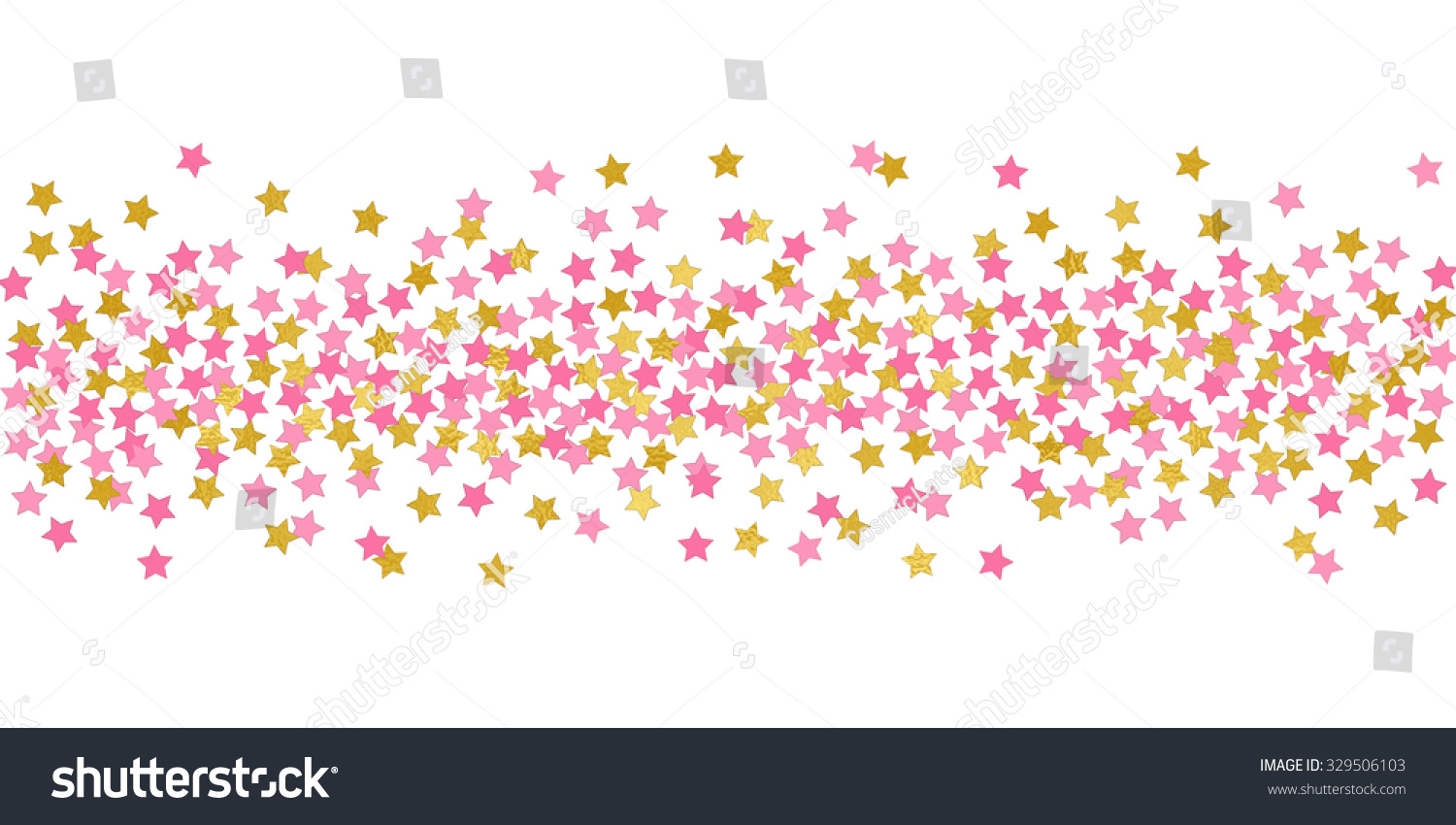 Small Stars Pink Gold Confetti Border Stock Illustration 329506103 - Shutterstock