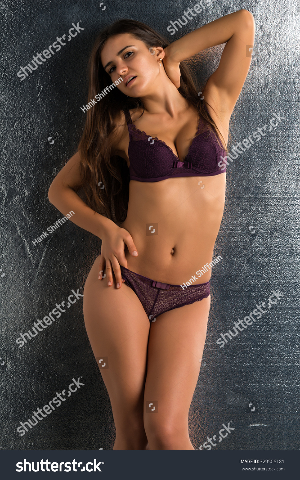 Brunette purple lingerie know