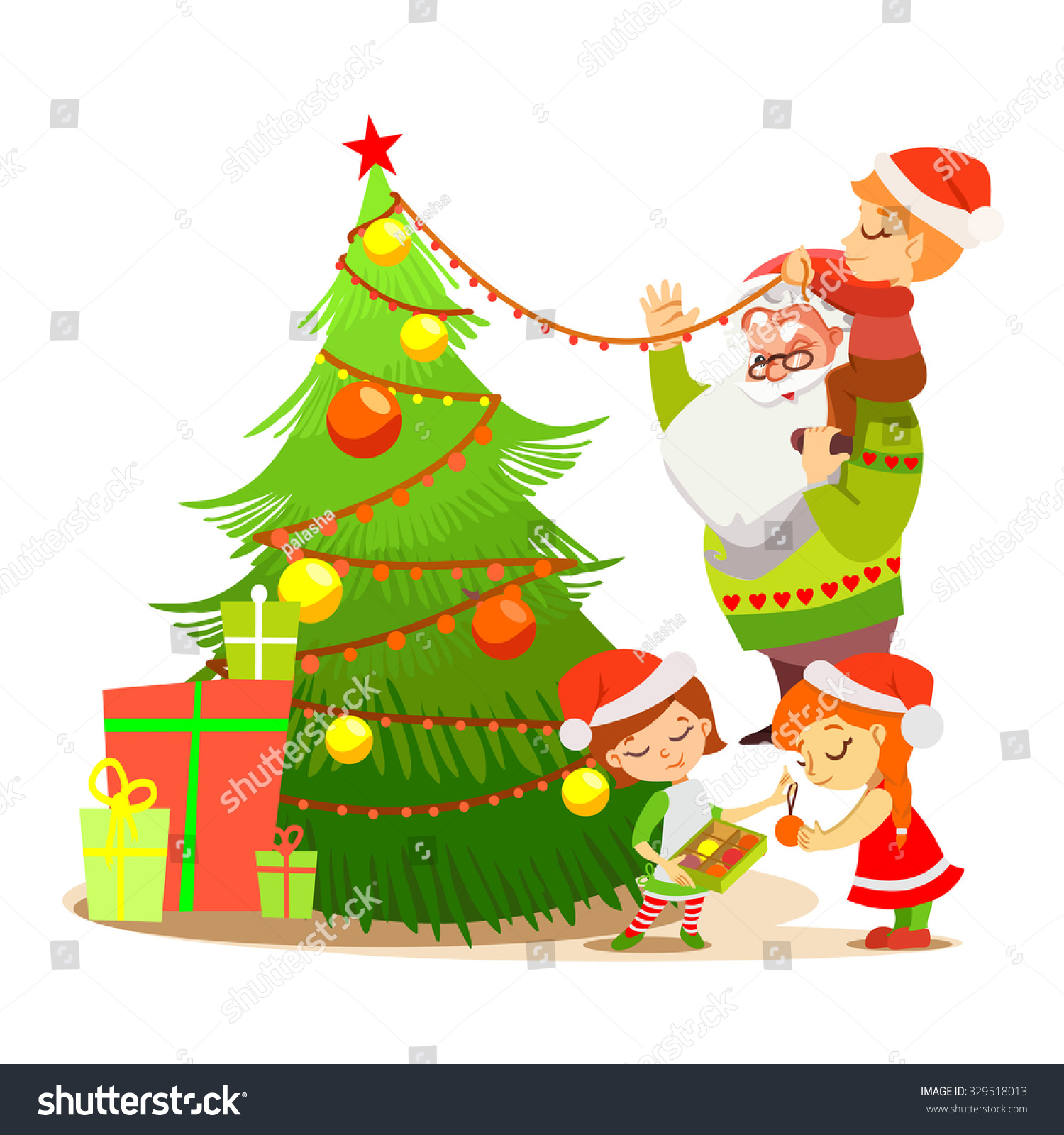 Santa claus decorating christmas tree with sweet elves merry christmas