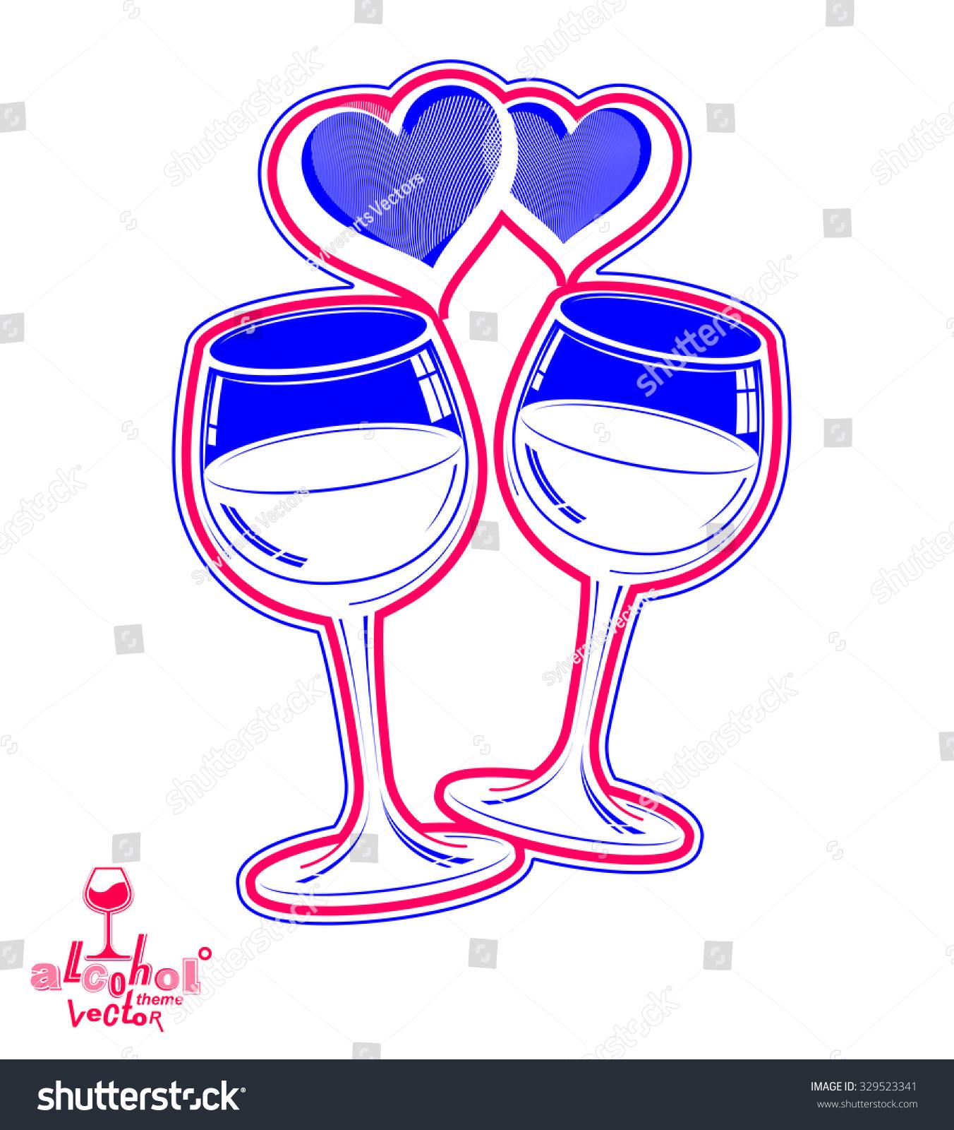 Two Wineglasses Vector Artistic Wedding Couple Stock Photo (Photo ...