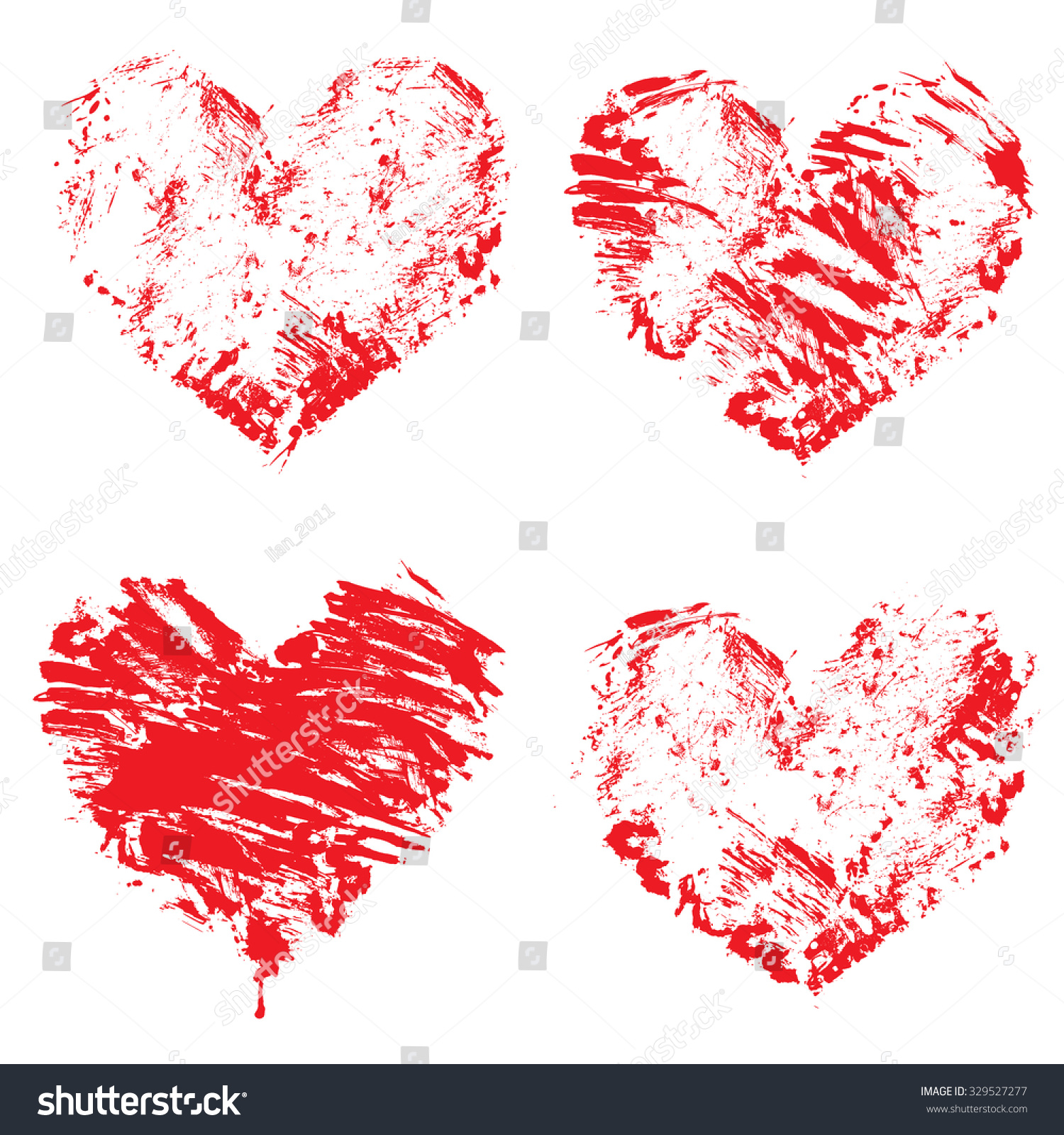Set Grunge Red Color Figures Hearts Stock Vector (Royalty Free ...