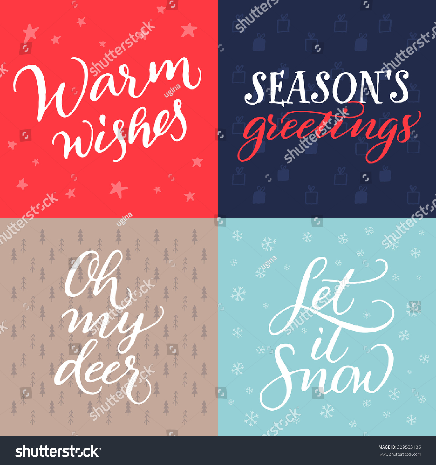 Set Christmas Cards Vector Hand Calligraphy Stock Vector (Royalty ...