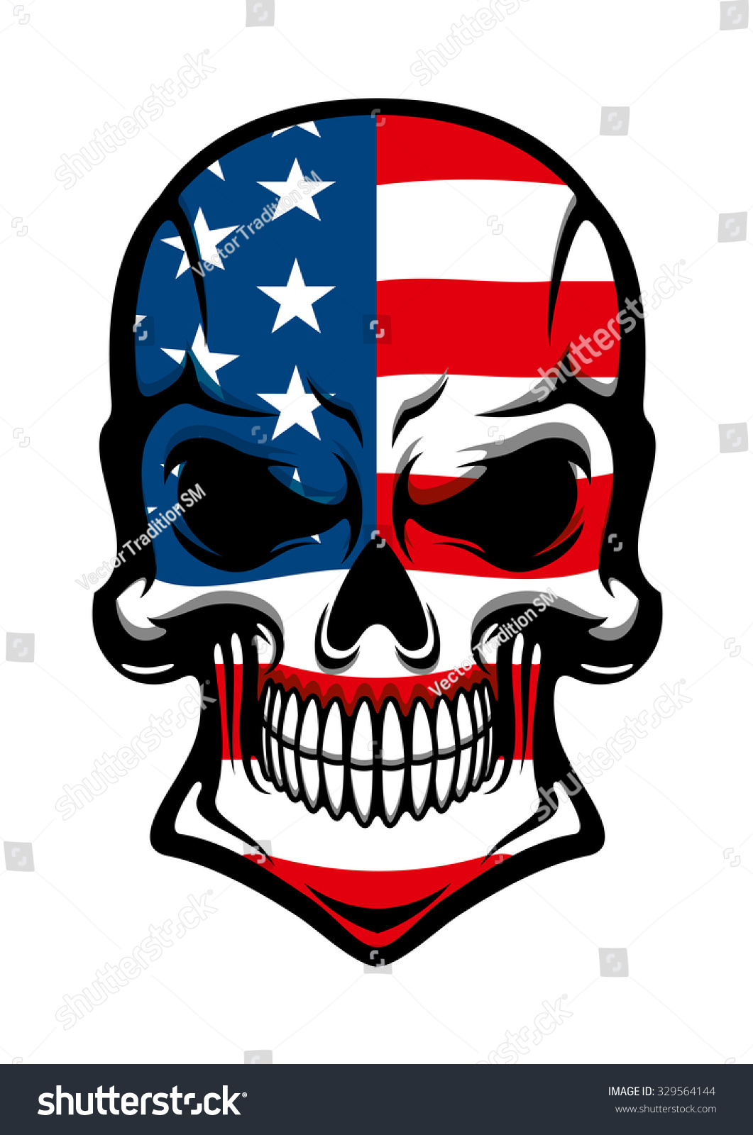 Human Skull Tattoo American Flag On Stock Vector 329564144 Shutterstock