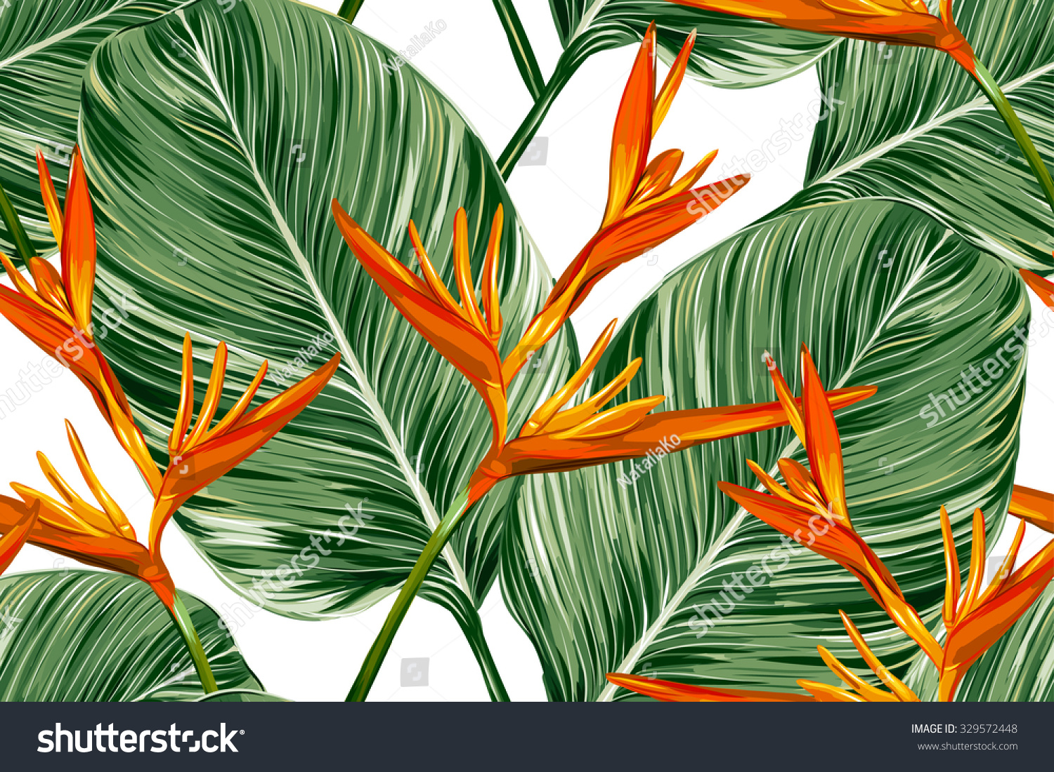 tropical flowers palm leaves bird paradise stock vector 329572448 shutterstock. Black Bedroom Furniture Sets. Home Design Ideas